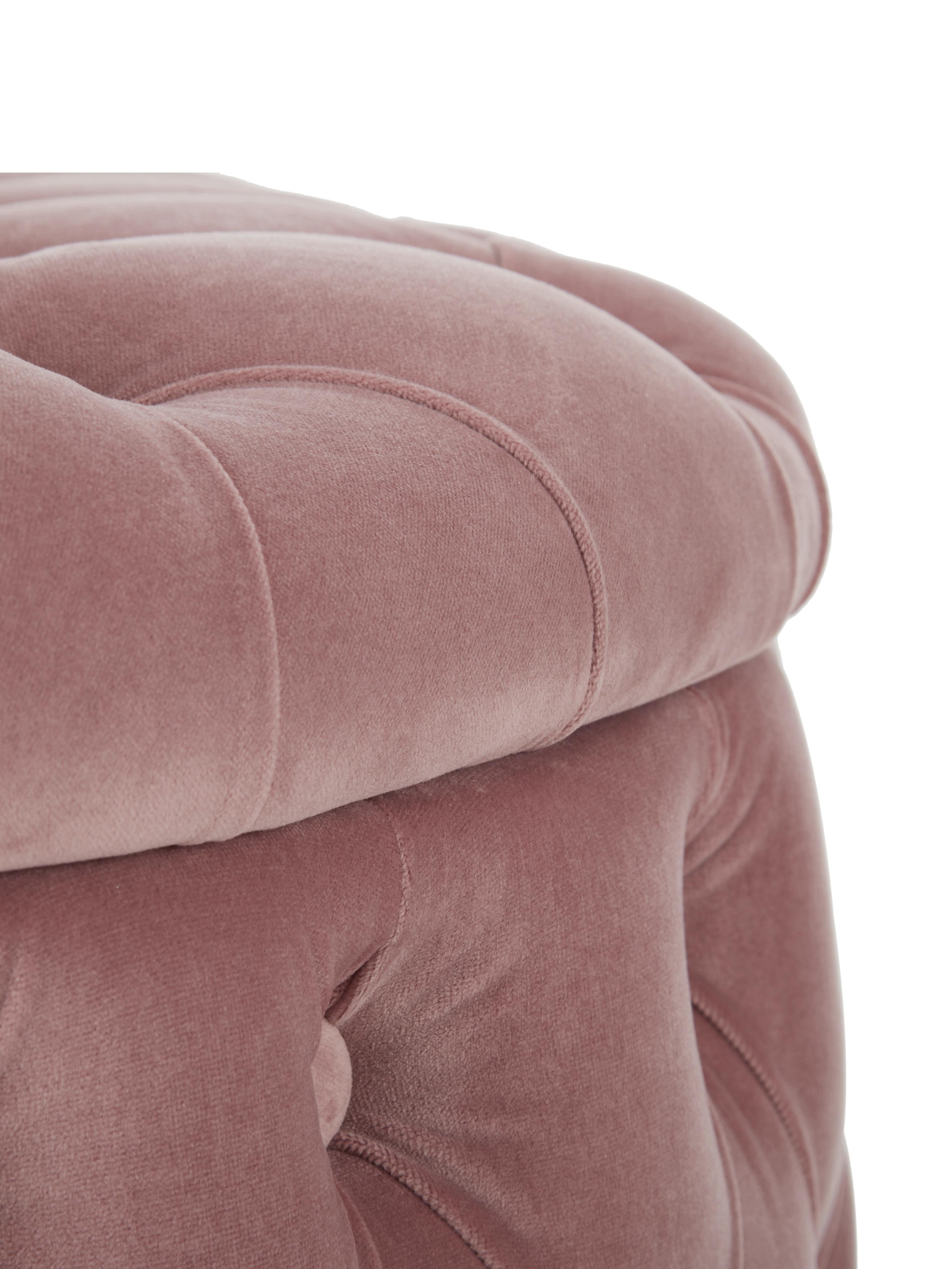 Pouf contenitore in velluto Chiara, Rivestimento: velluto (poliestere) 20.0, Rosa, Ø 70 x Alt. 42 cm