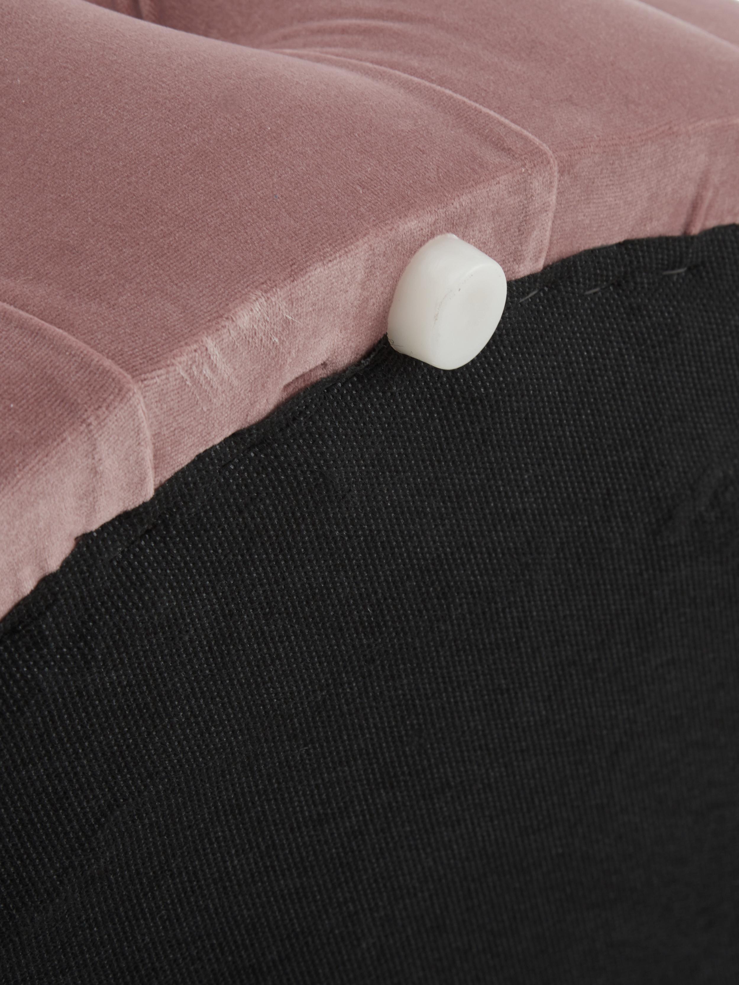 Puf z aksamitu z miejscem do przechowywania XL Chiara, Tapicerka: aksamit (poliester) 20 00, Korpus: drewno eukaliptusowe, Blady różowy, ∅ 70 x W 42 cm