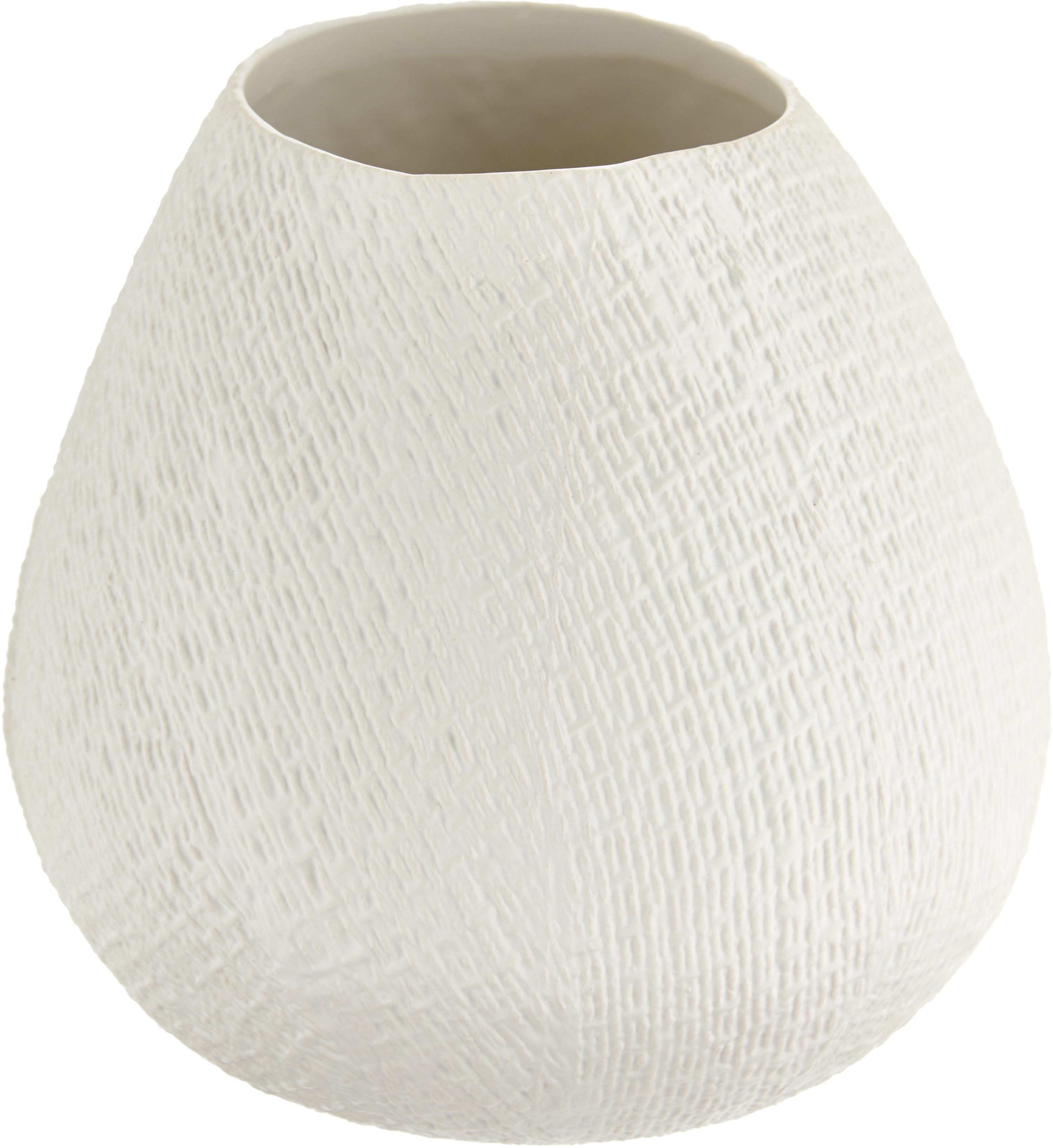 Jarrón artesanal Wendy, Cerámica, Blanco crema, mate, Ø 19 x H 20 cm