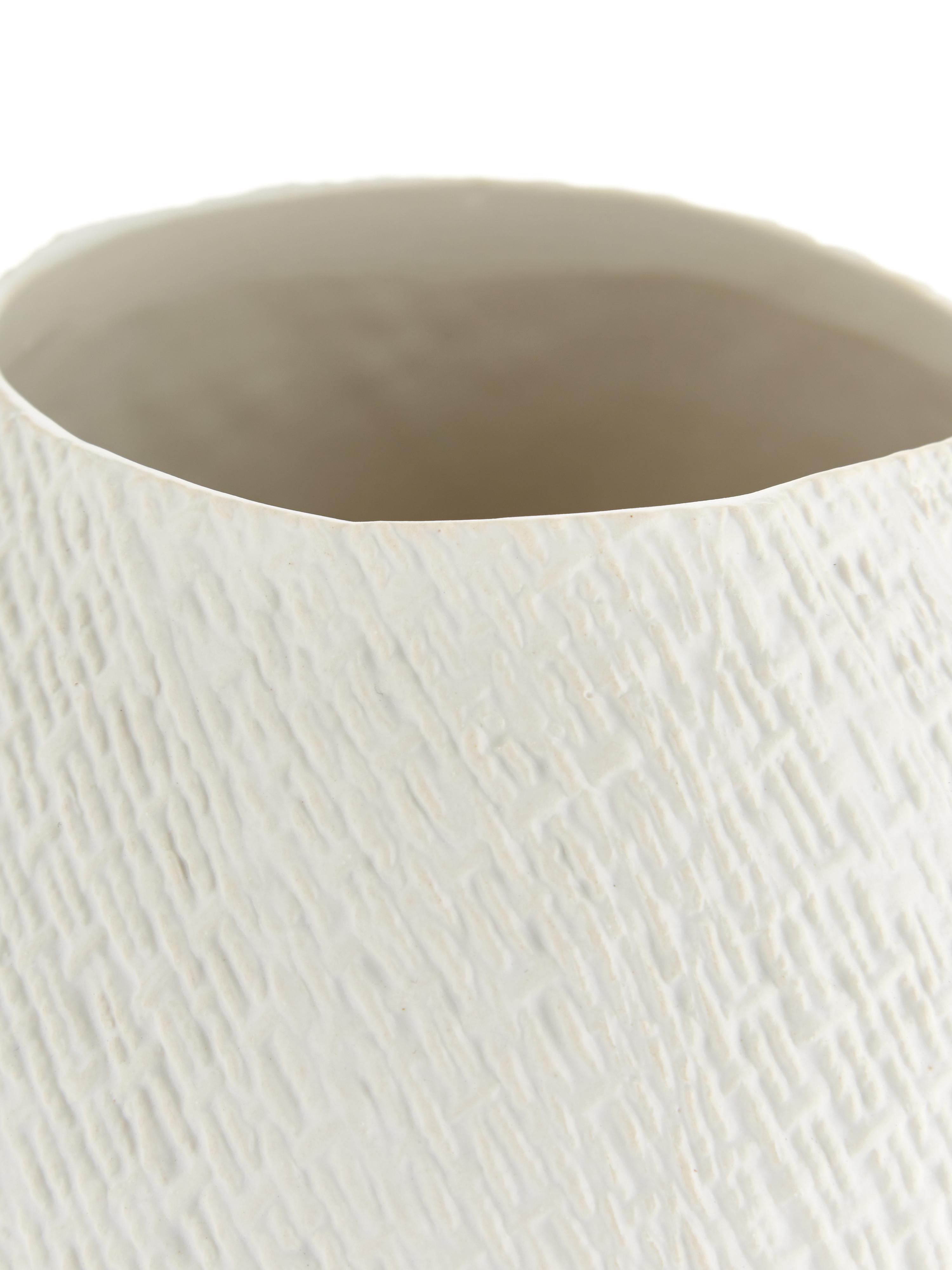 Ręcznie wykonany wazon Wendy, Ceramika, Kremowobiały, matowy, ∅ 19 x W 20 cm