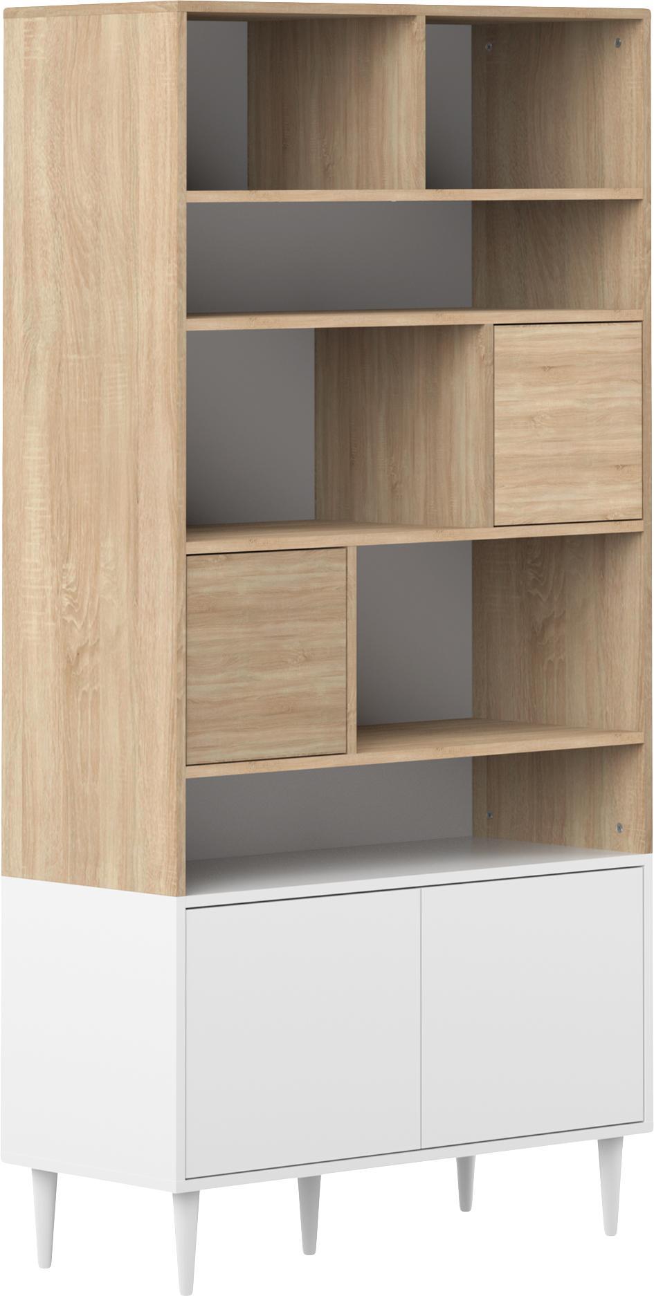 Libreria in design scandi Horizon, Piedini: legno di faggio, massicci, Legno di quercia, bianco, Larg. 90 x Alt. 180 cm