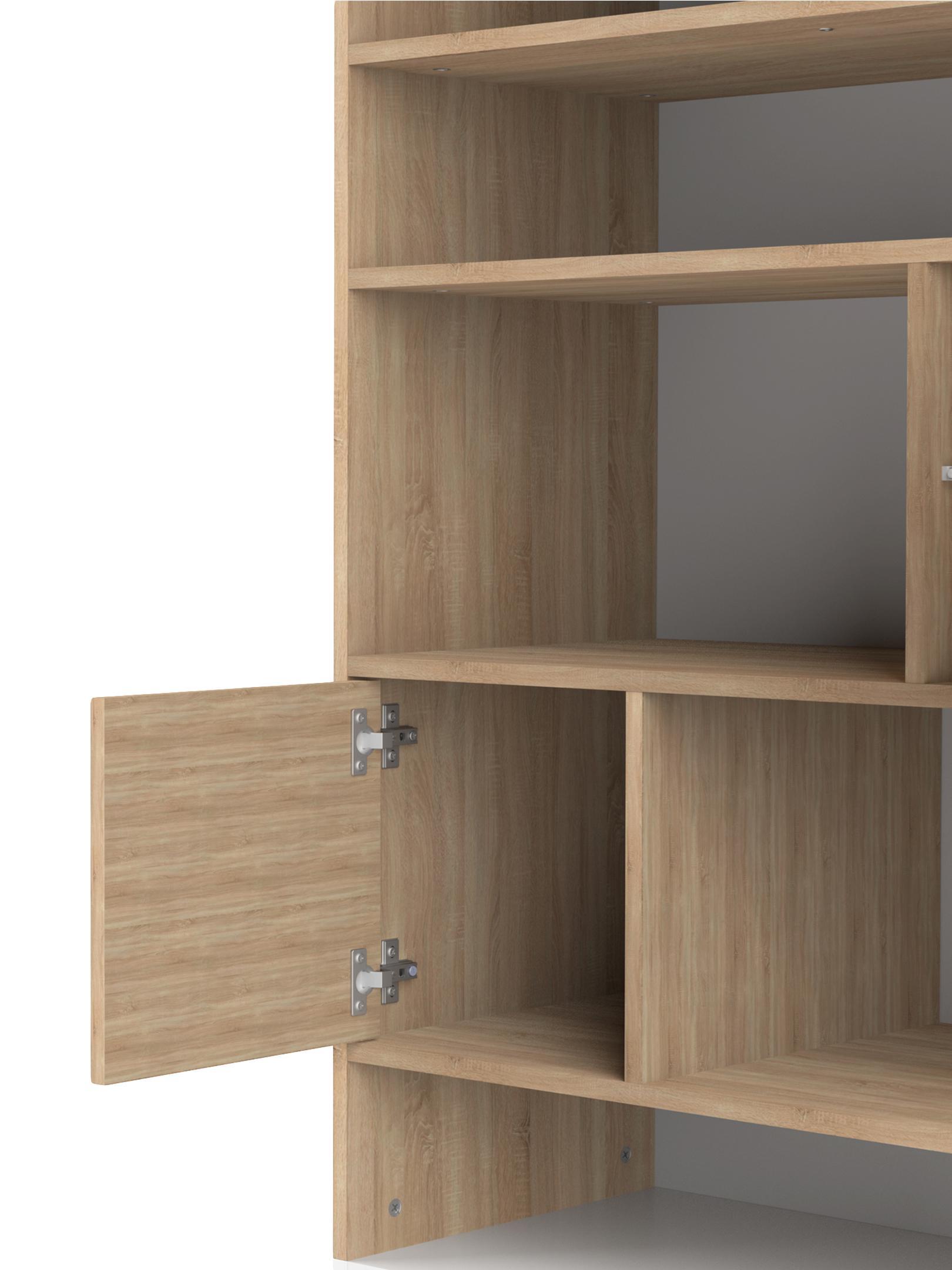 Standregal Horizon im Skandi Design, Korpus: Spanplatte, melaminbeschi, Füße: Buchenholz, massiv, lacki, Eichenholz, Weiß, 90 x 180 cm