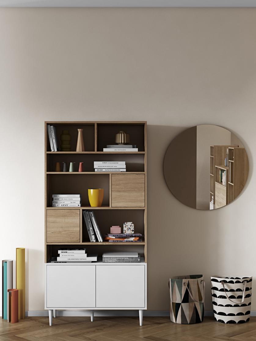 Kast Horizon, Frame: melamine gecoate spaanpla, Poten: gelakt massief beukenhout, Eikenhout, wit, 90 x 180 cm