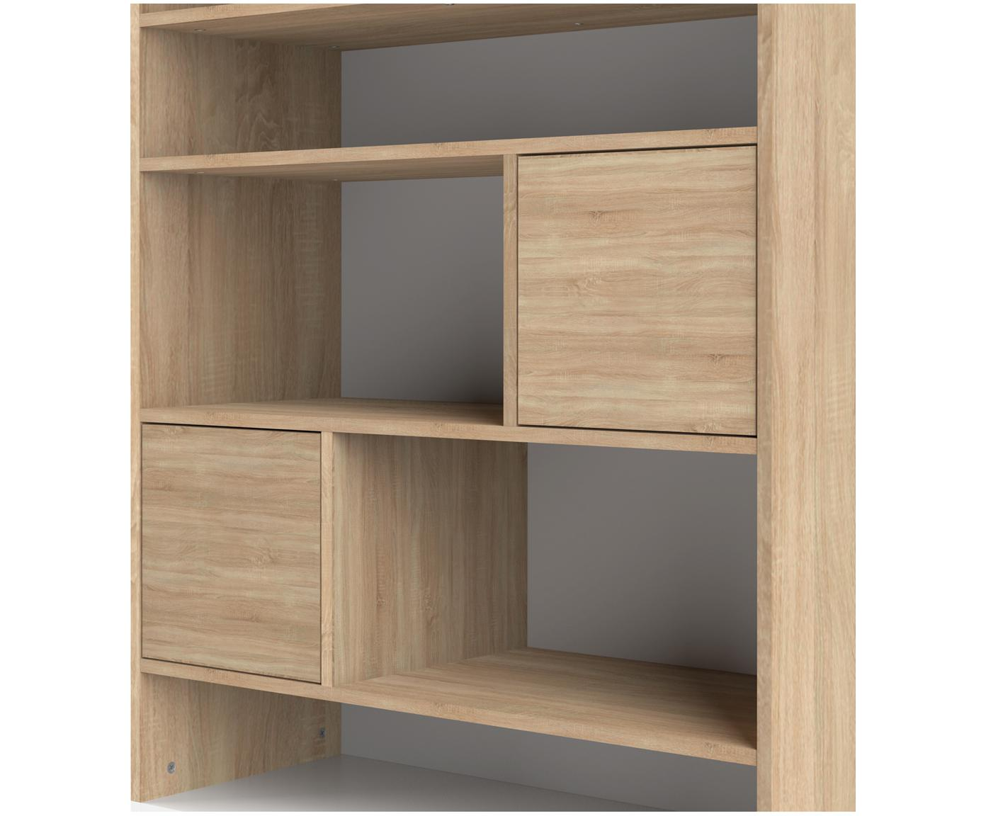 Regał scandi Horizon, Korpus: płyta wiórowa pokryta mel, Nogi: lite drewno bukowe, lakie, Drewno dębowe, biały, S 90 x W 180 cm