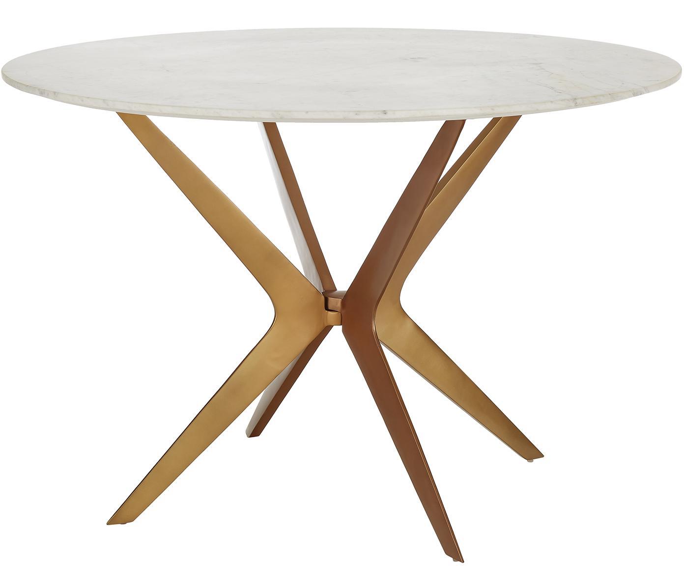 Okrągły stół do jadalni z marmuru Safia, Blat: marmur kamień, Nogi: metal malowany proszkowo, Blat: białoszary marmur Stelaż: odcienie złotego, matowy, Ø 120 x W 76 cm