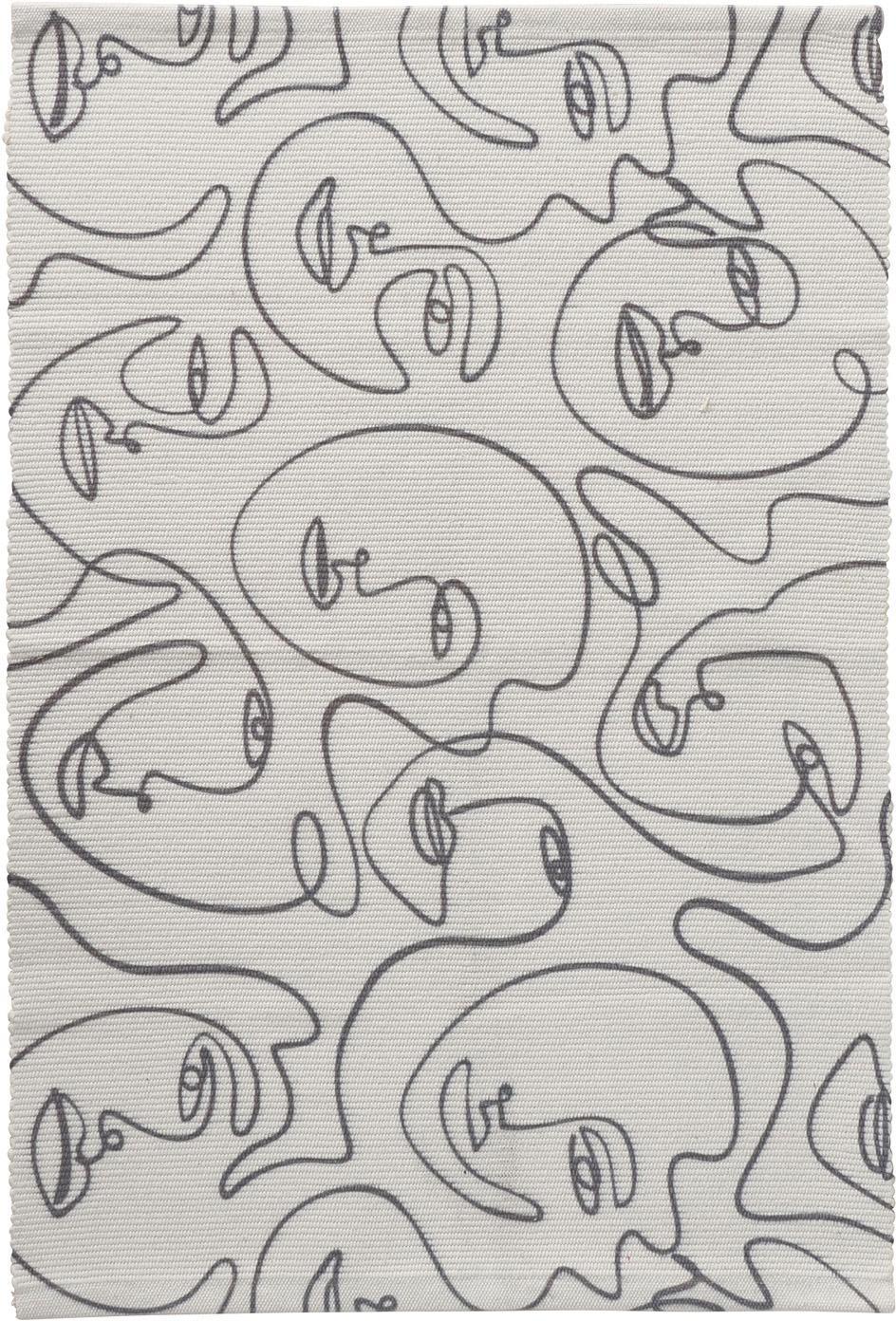 Tappeto con disegno astratto One Line Picas, 50% cotone, 50% poliestere, Bianco latteo, nero, Larg. 60 x Lung. 90 cm (taglia XXS)