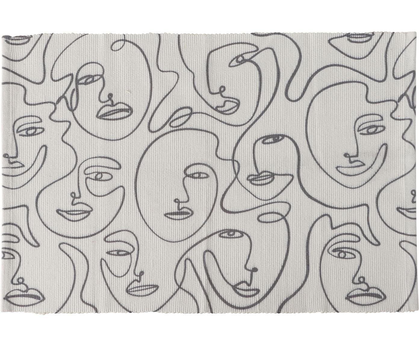 Teppich Picas mit abstrakter One Line Zeichnung, 50% Baumwolle, 50% Polyester, Gebrochenes Weiss, Schwarz,, B 60 x L 90 cm (Grösse XXS)