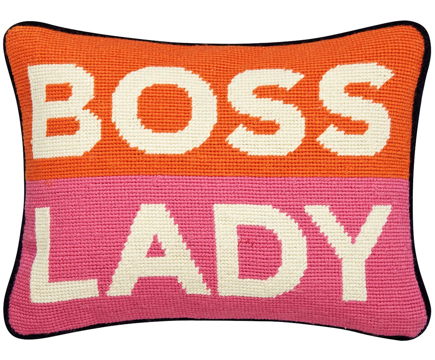 Cojín pequeño de diseño bordado Boss Lady, con relleno, Parte delantera: 100%lana, Parte trasera: terciopelo de algodón, Naranja, blanco, rosa, azul marino, An 23 x L 30 cm