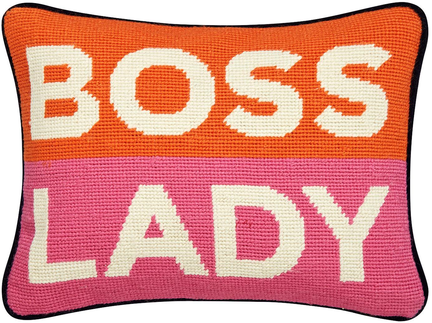 Kleines handbesticktes Designer Kissen Boss Lady, mit Inlett, Vorderseite: 100% Wolle, Rückseite: Baumwollsamt, Orange, Weiß, Pink, Marineblau, 23 x 30 cm