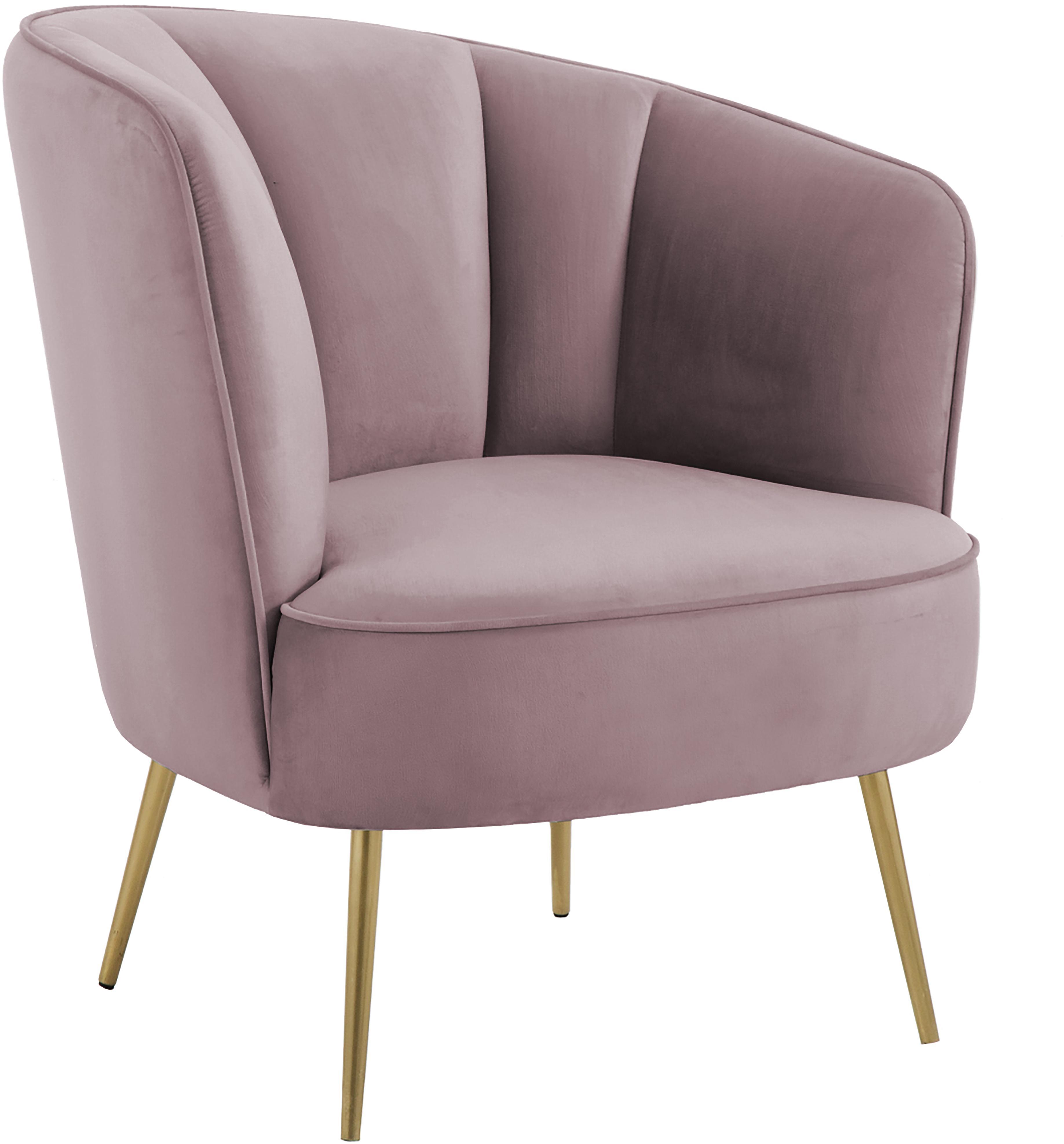 Fluwelen fauteuil Louise, Bekleding: fluweel (polyester), Poten: gecoat metaal, Roze, B 76 x D 74 cm