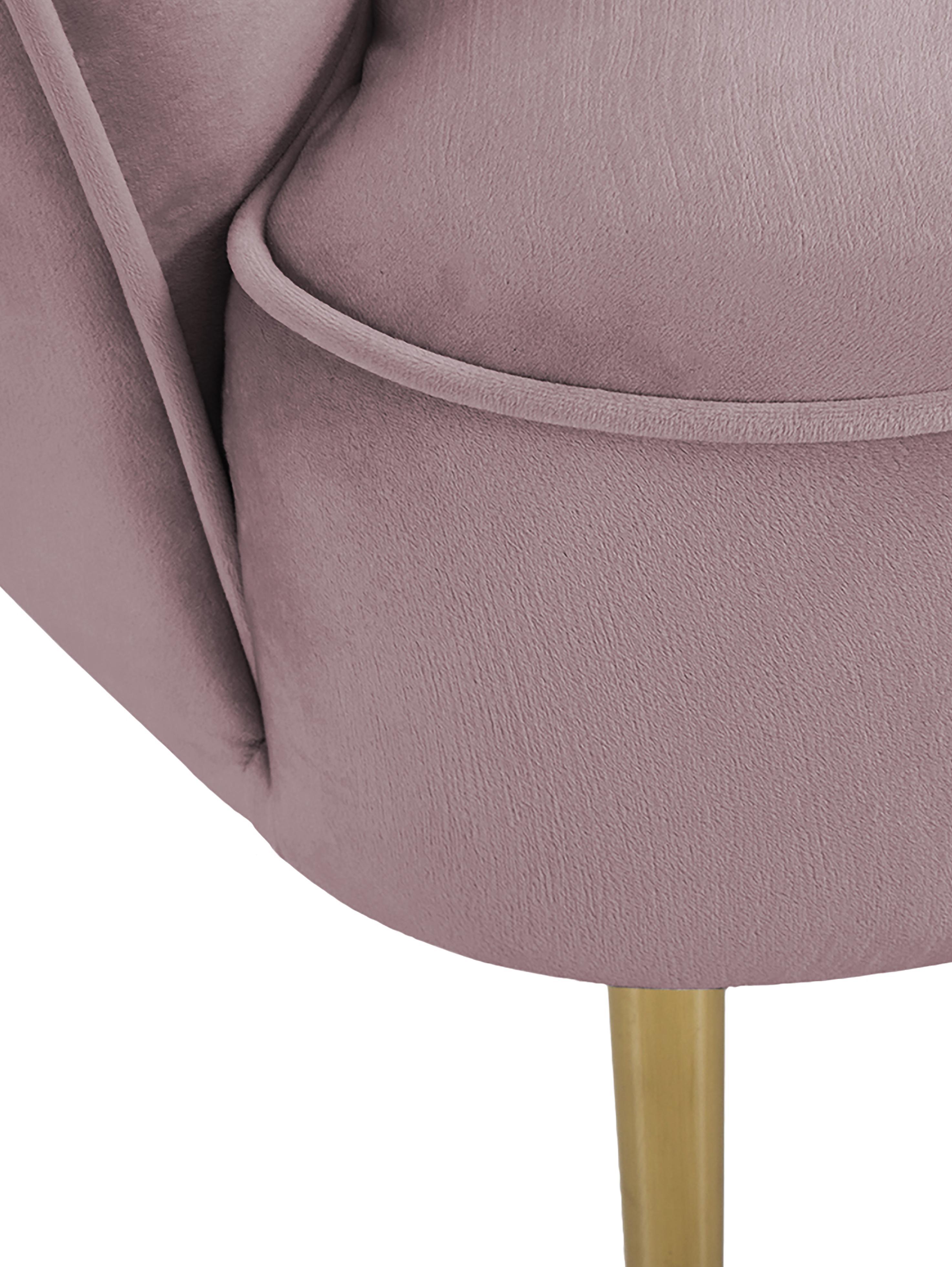 Samt-Cocktailsessel Louise in Rosa, Bezug: Samt (Polyester) Der hoch, Füße: Metall, beschichtet, Samt Mauve, B 76 x T 74 cm