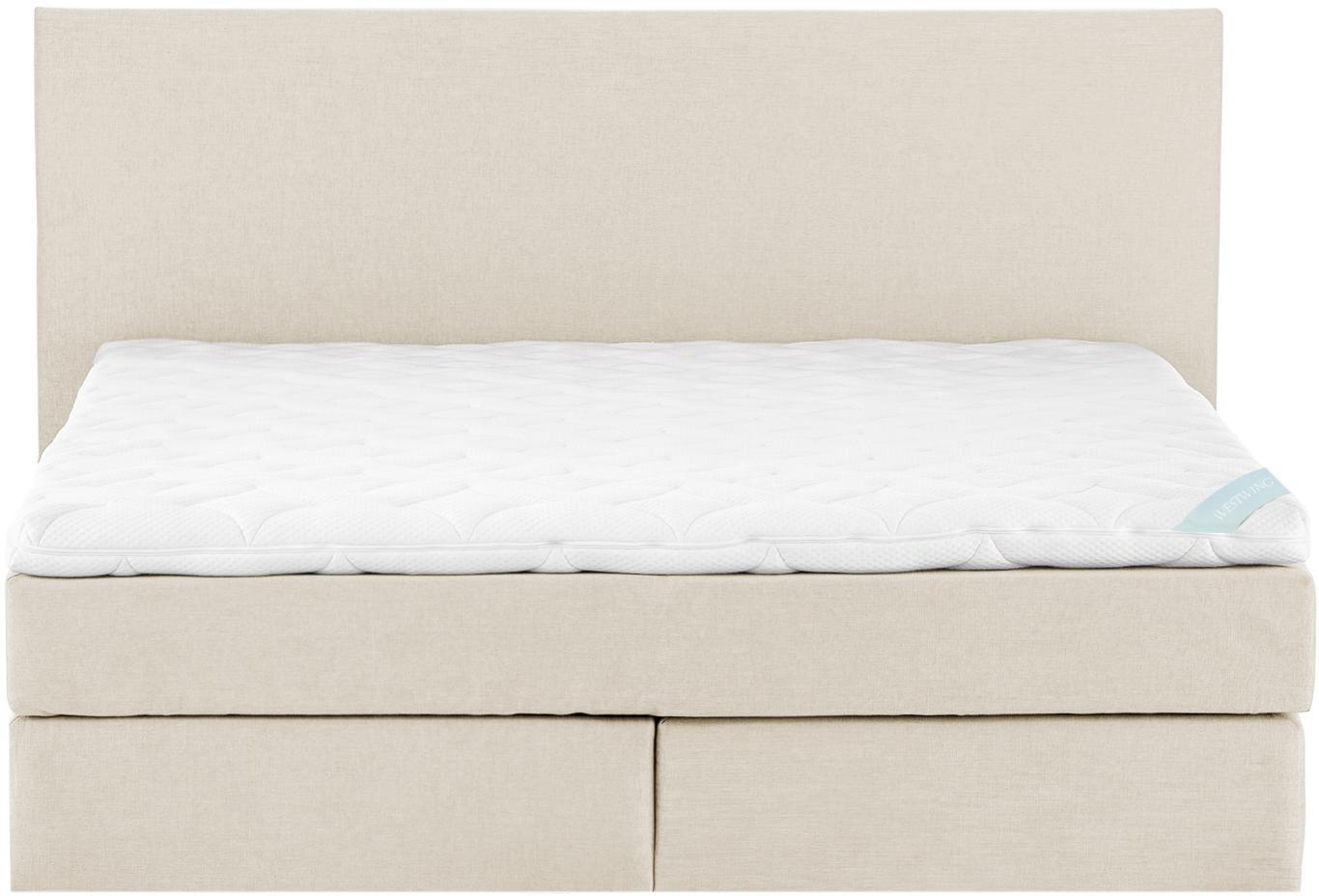 Premium Boxspringbett Eliza, Matratze: 7-Zonen-Taschenfederkern , Füße: Massives Buchenholz, lack, Beige, 200 x 200 cm