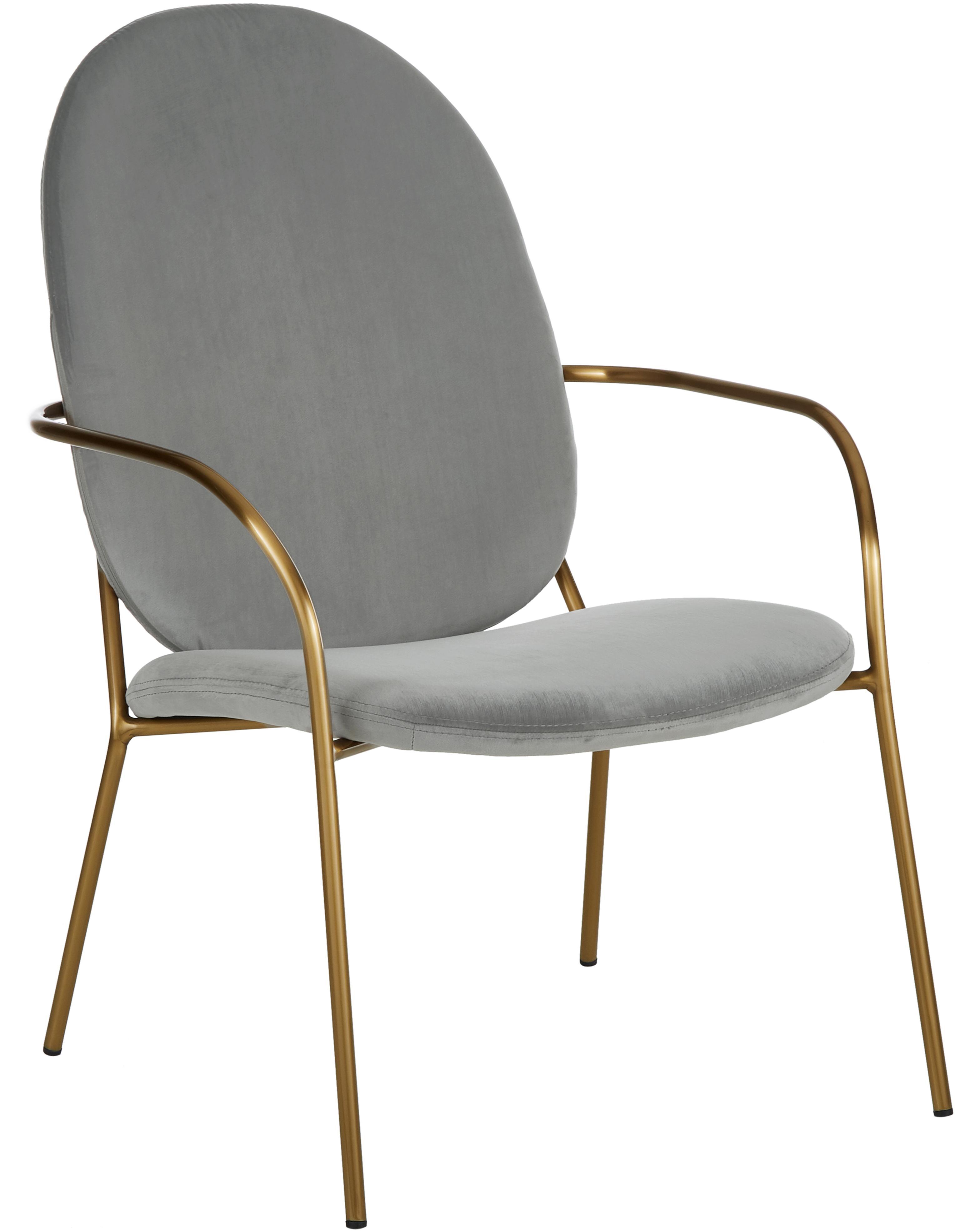 Sedia a poltrona in velluto Mary, Rivestimento: velluto (poliestere) 15.0, Struttura: metallo rivestito, Velluto grigio, Larg. 63 x Prof. 73 cm
