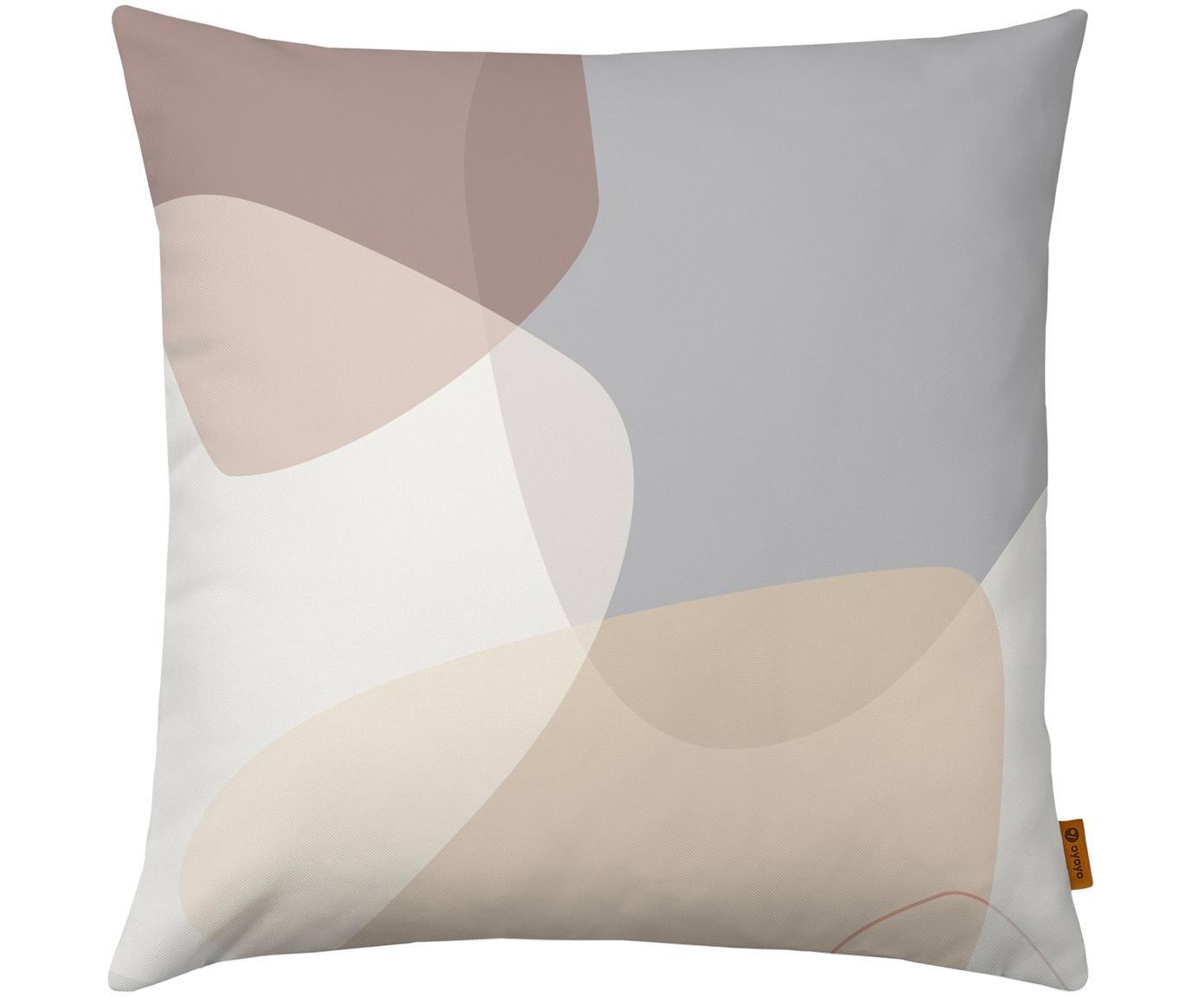 Kussenhoes Graphic met geometrisch Print, Polyester, Beige, grijs, crèmekleurig, oudroze, 40 x 40 cm