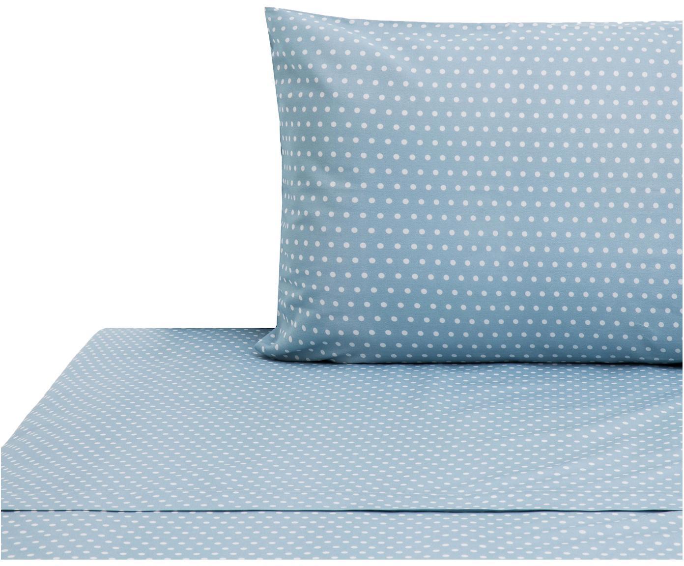 Set lenzuola in cotone Perun 2 pz, Cotone, Blu, bianco, 160 x 200 cm