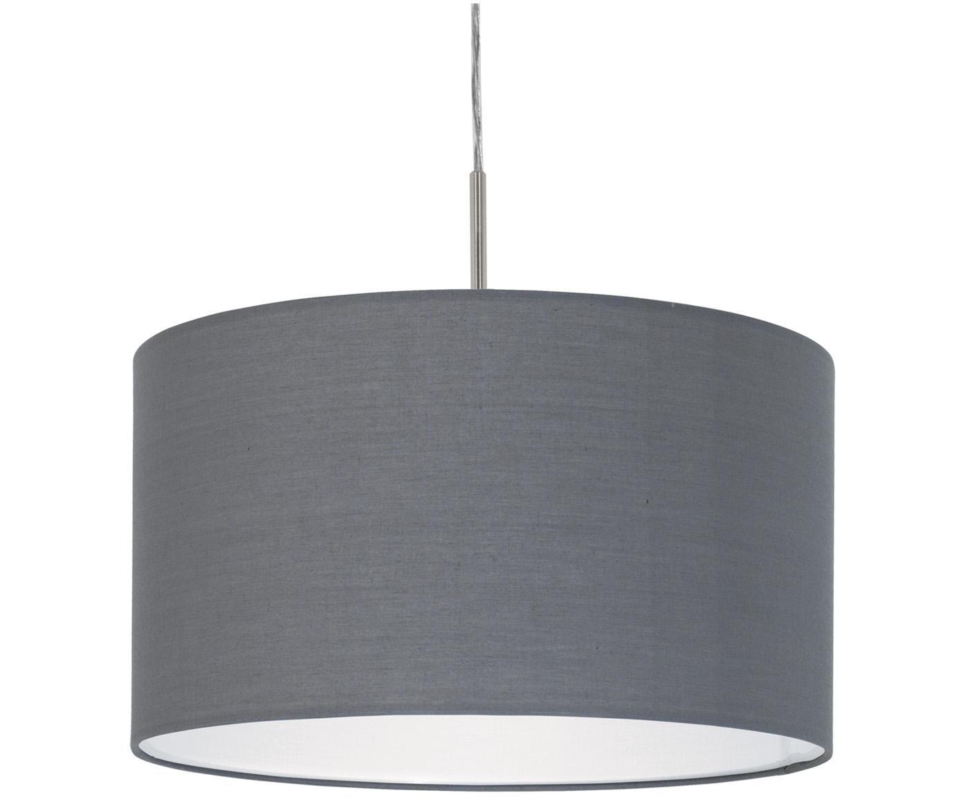 Lampada a sospensione Parry, Baldacchino: metallo, nichelato, Paralume: tessuto, Argentato, grigio, Ø 38 x Alt. 22 cm