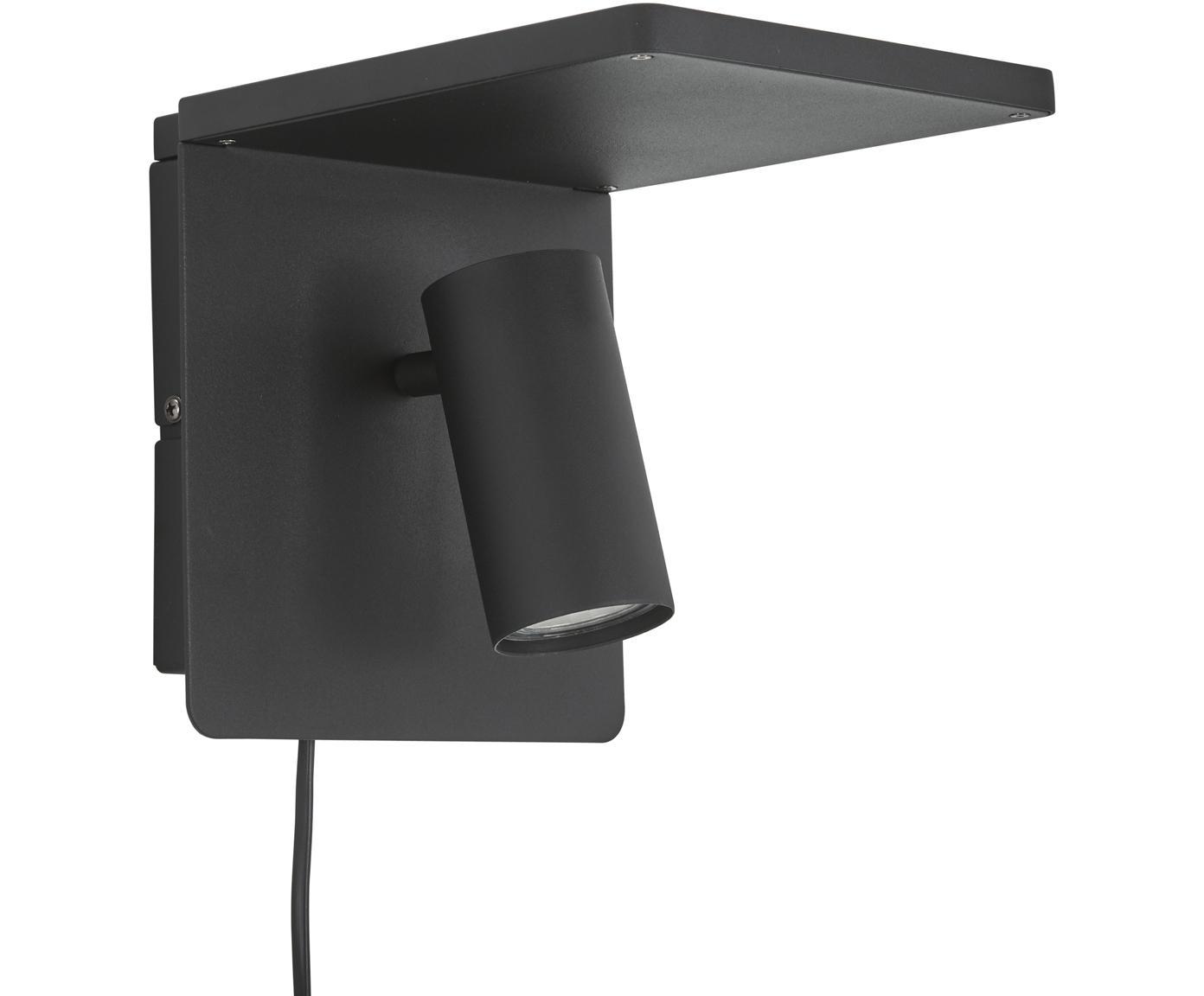 LED wandlamp Chandler, Lampenkap: gepoedercoat metaal, Zwart, 19 x 21 cm