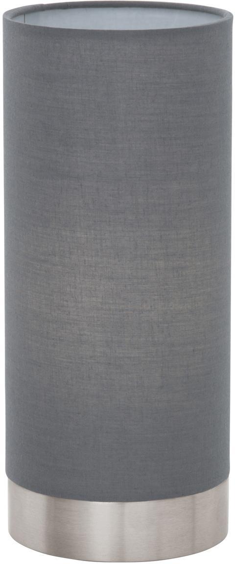 Dimbare tafellamp Pasteri, Lampenkap: polyester, Lampvoet: vernikkeld staal, Grijs, wit, Ø 12 x H 26 cm