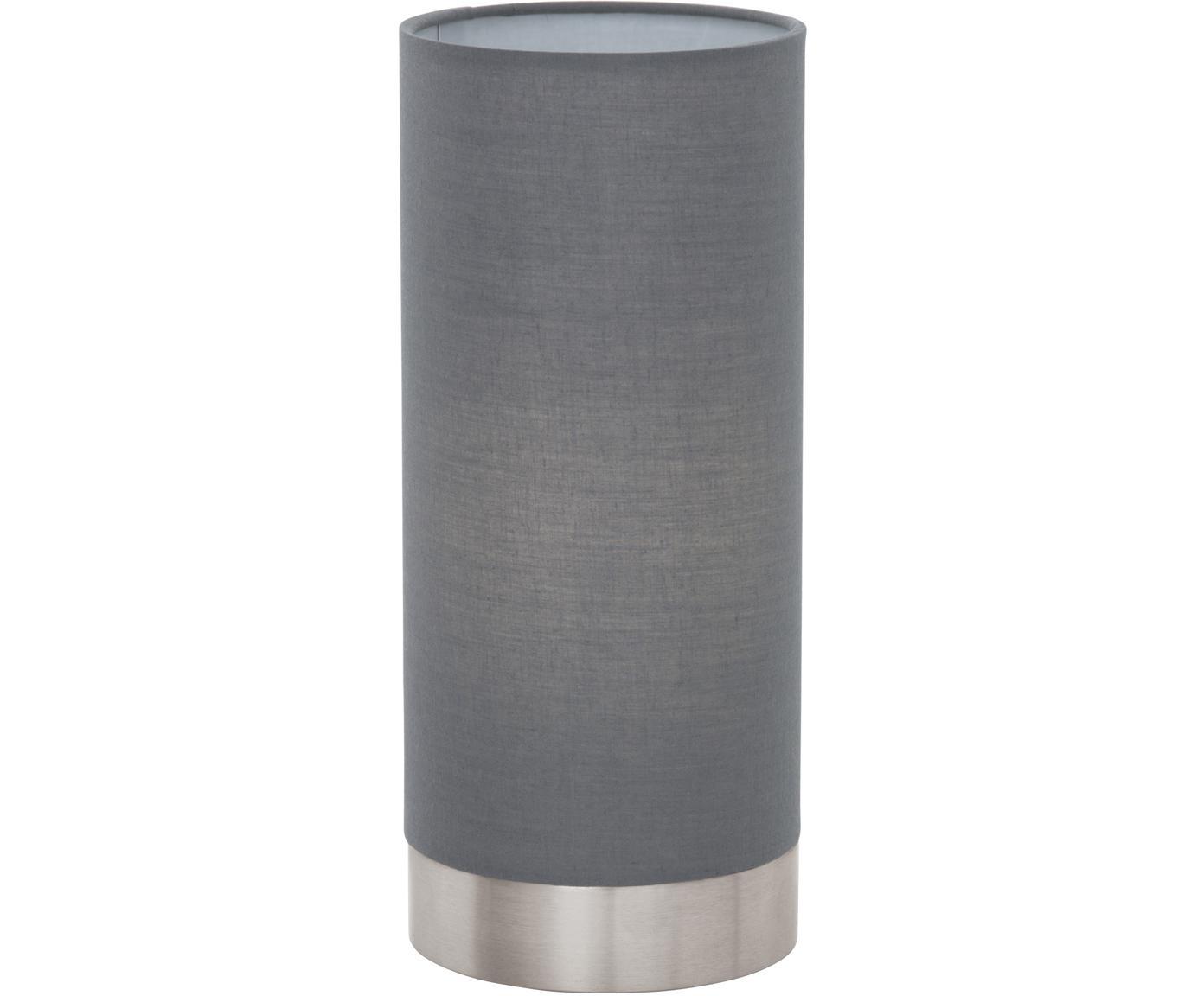 Dimmbare Tischleuchte Pasteri, Lampenschirm: Polyester, Lampenfuß: Stahl, vernickelt, Grau, Weiß, Ø 12 x H 26 cm