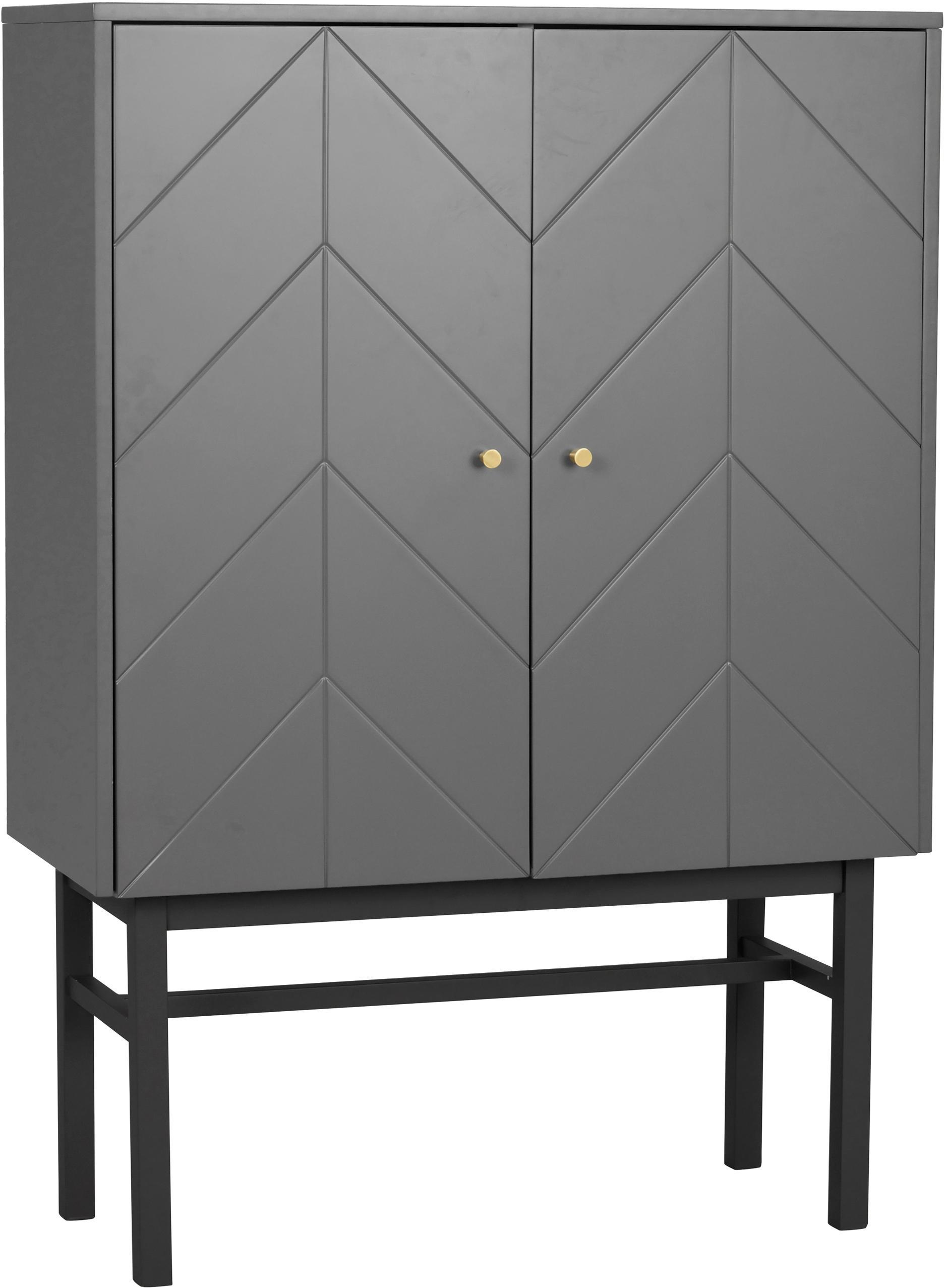 Highboard Webster mit 2 Türen, Korpus: Mitteldichte Holzfaserpla, Beine: Gummibaumholz, massiv, Grau, Anthrazit, 94 x 135 cm