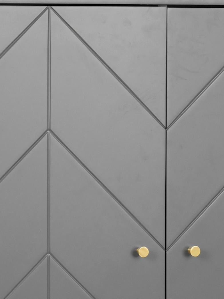 Credenza alta con 2 ante Webster, Gambe: legno di caucciù massicci, Grigio, antracite, Larg. 94 x Alt. 135 cm