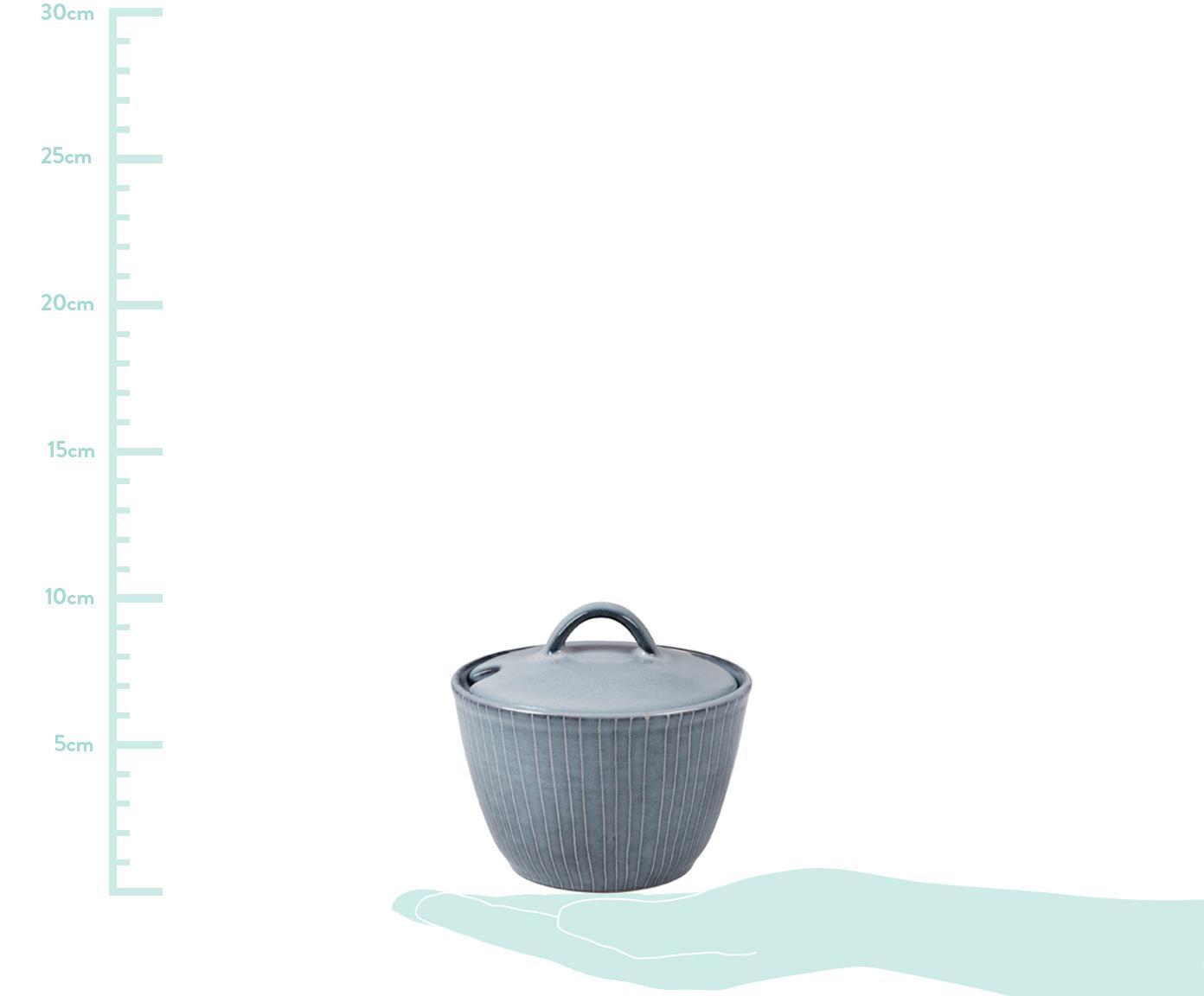 Handgemachte Zuckerdose Nordic Sea aus Steingut, Steingut, Grau- und Blautöne, Ø 10 x H 7 cm