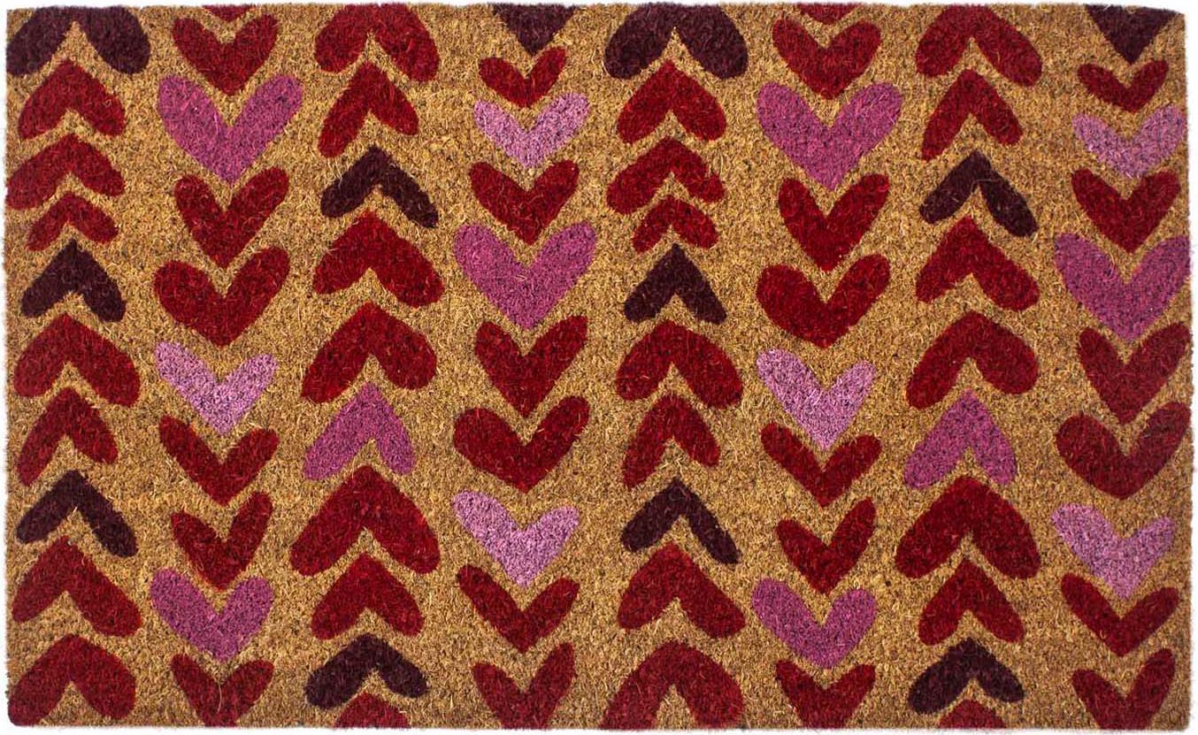 Zerbino in cocco con cuori Heartwood, Retro: PVC, Beige, rosso, rosa, Larg. 43 x Lung. 70 cm