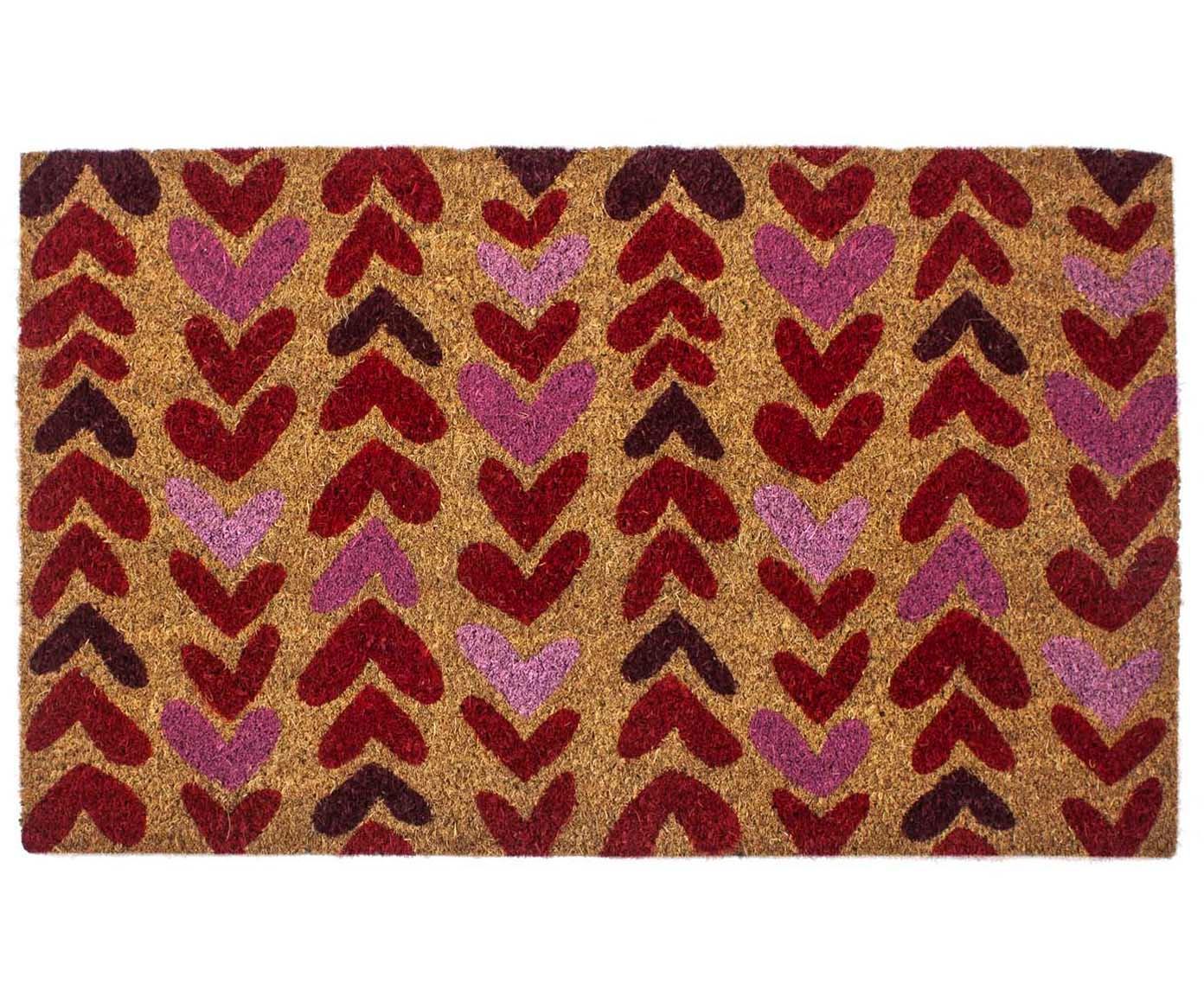 Deurmat Heartwood, Bovenzijde: kokosvezels, Onderzijde: PVC, Beige, rood, roze, 43 x 70 cm