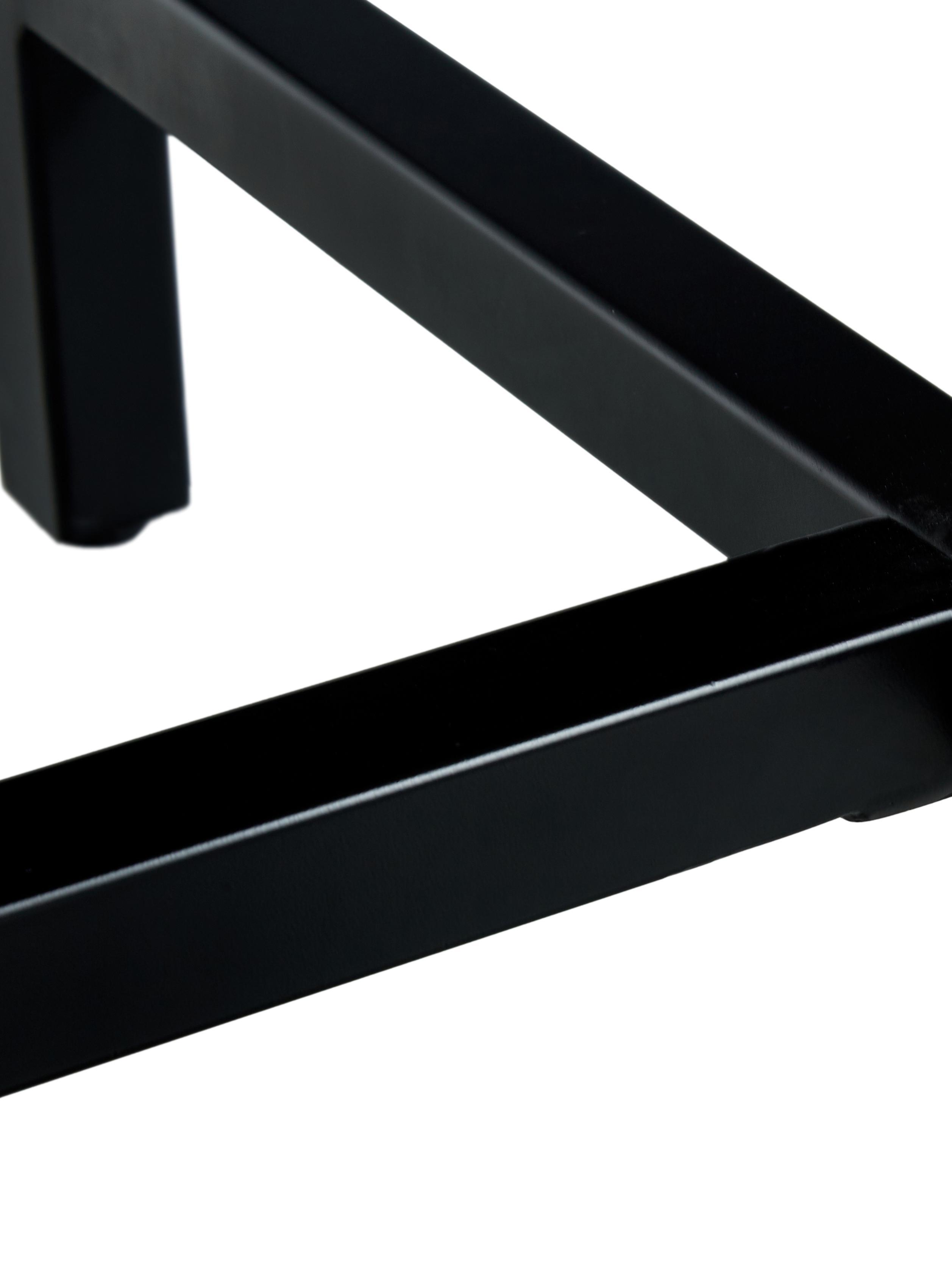 Esstisch Raw mit Massivholzplatte, Tischplatte: Massives Mangoholz, gebür, Gestell: Metall, pulverbeschichtet, Tischplatte: Mangoholz, schwarz lackiert Gestell: Schwarz, matt, B 180 x T 90 cm