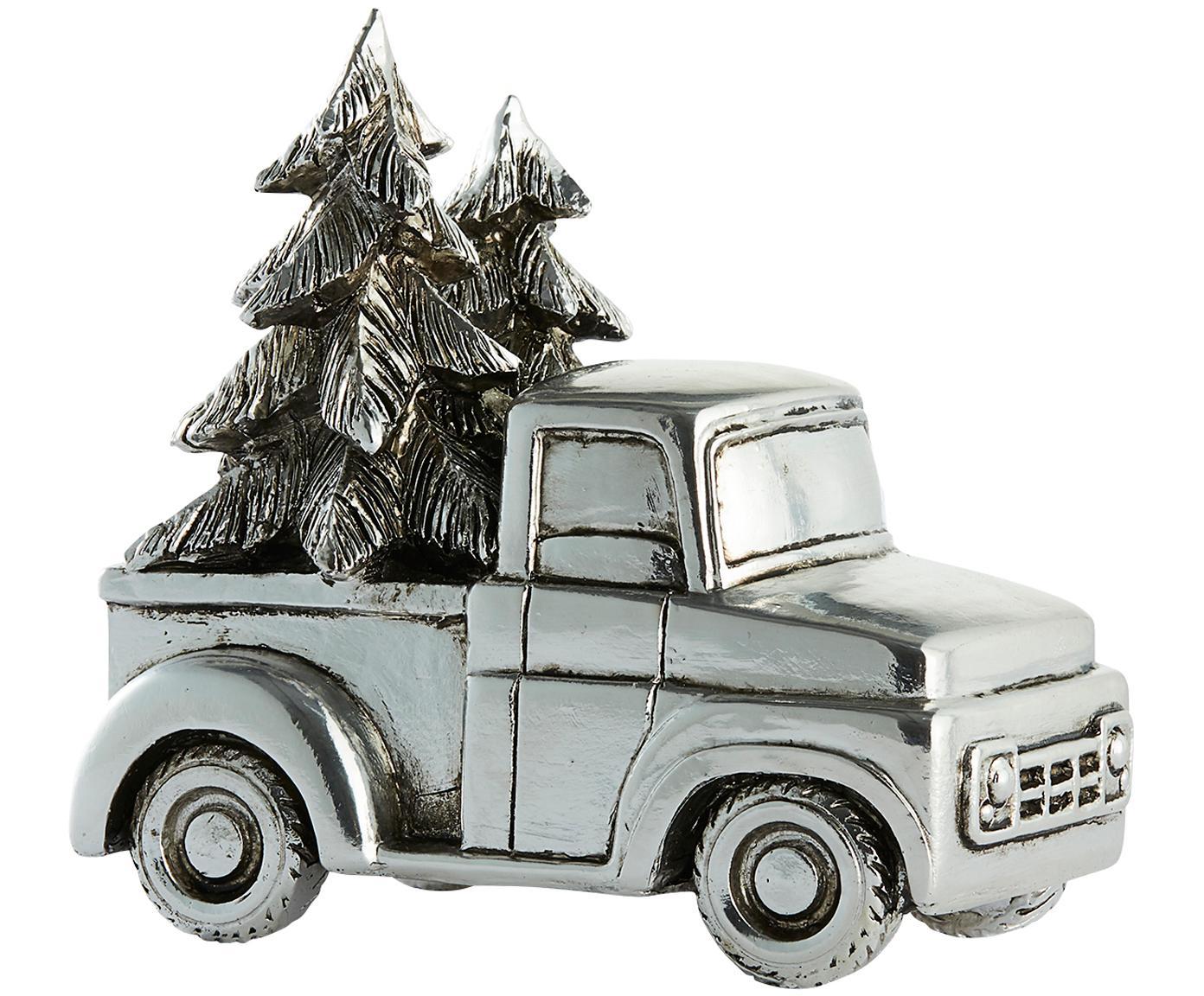 Figura decorativa Car, Poliresina, Plateado, An 14 x Al 14 cm