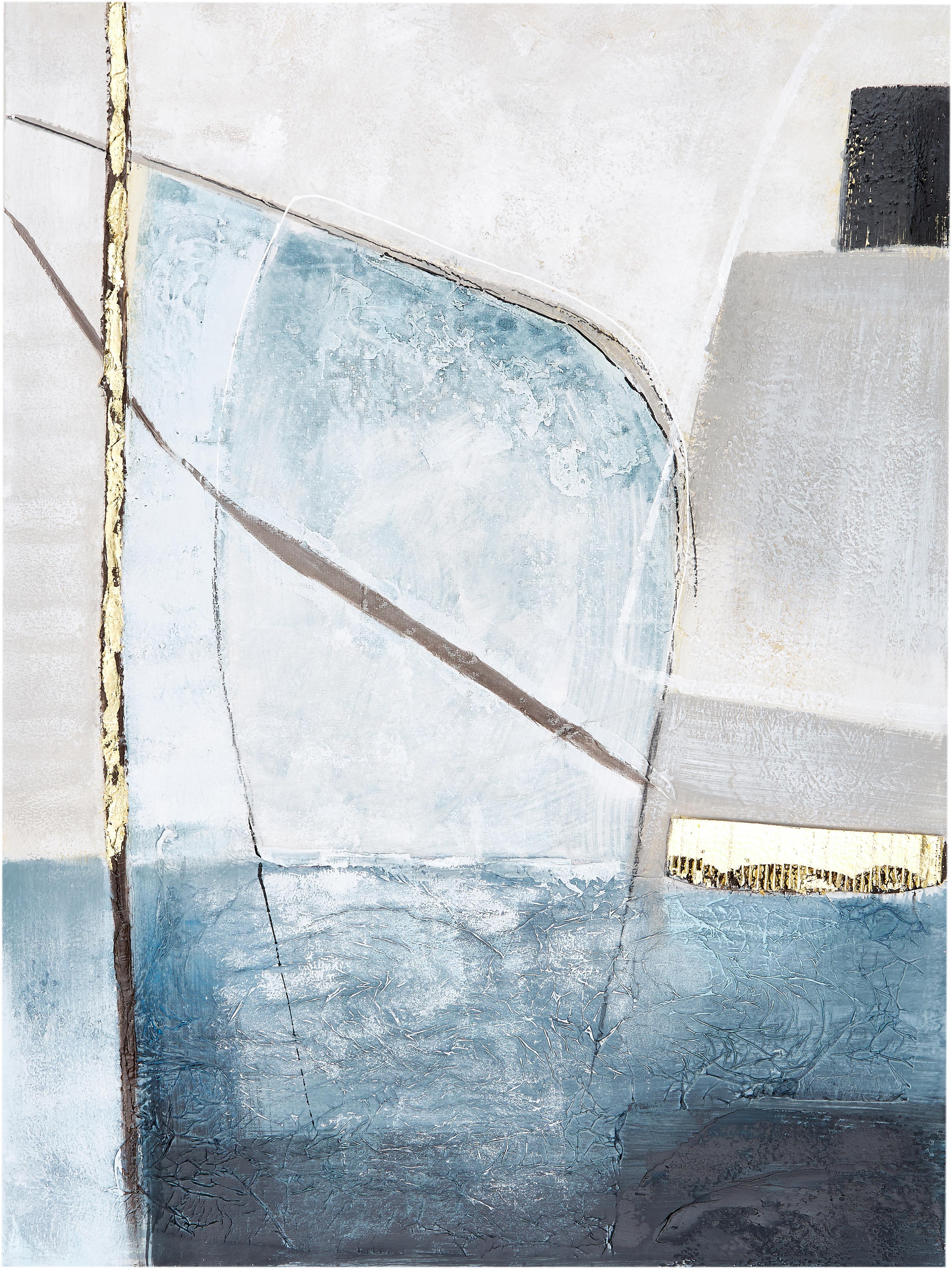 Handgeschilderde canvasdoek Golden Blue II, Afbeelding: olieverf op linnen (300 g, Multicolour, 90 x 120 cm