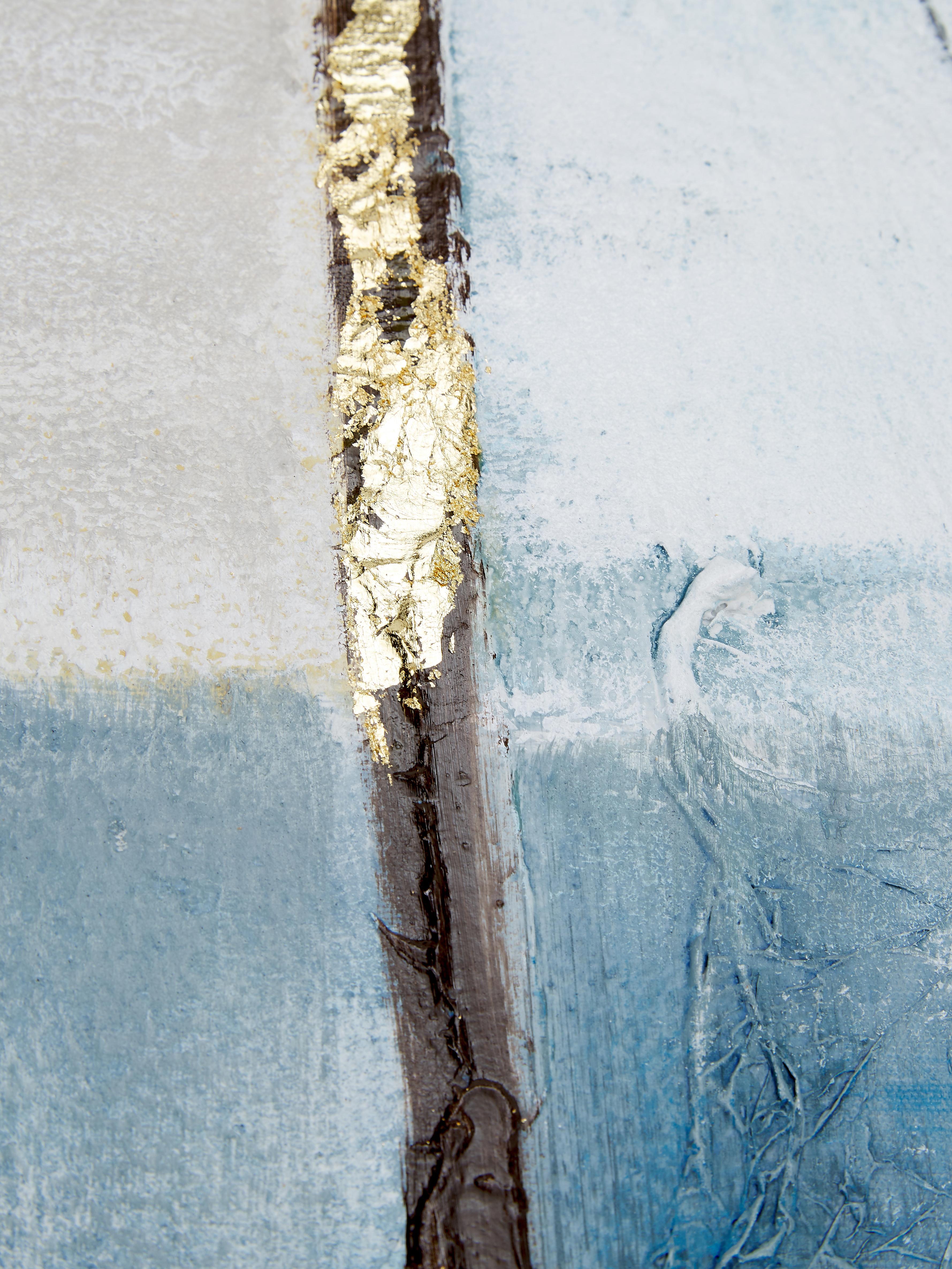 Cuadro pintado a mano Golden Blue II, Multicolor, An 90 x Al 120 cm