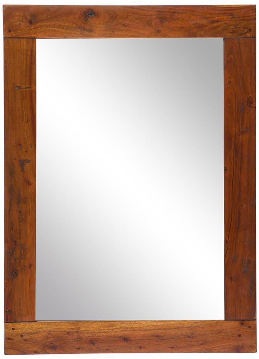 Espejo de pared Chateaux, Estructura: madera maciza de acacia, Espejo: cristal, Acacia, An 80 x Al 110 cm