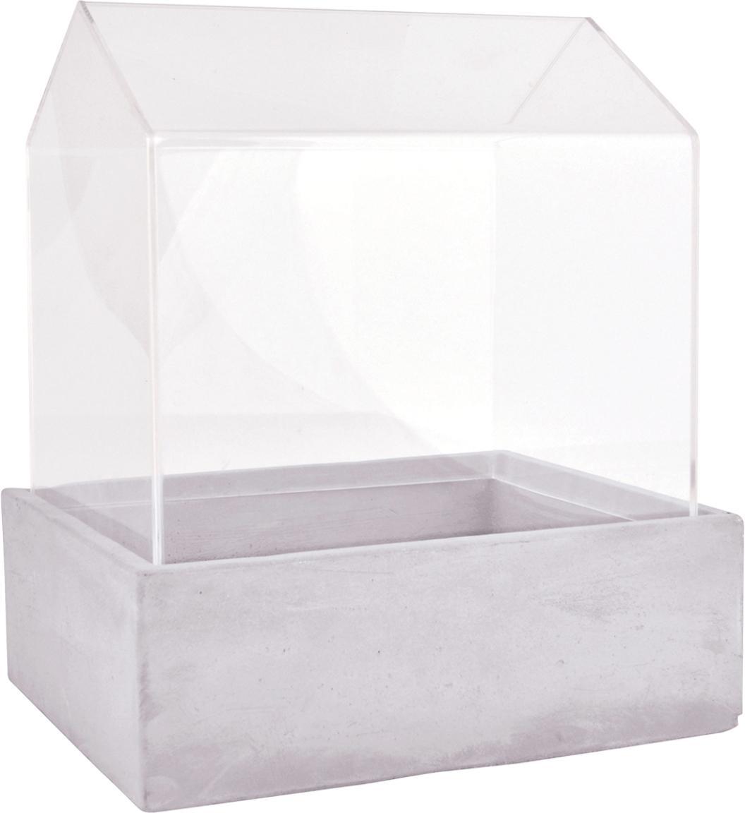 Broeikas Budi, Beton, glas, Grijs, transparant, 24 x 28 cm