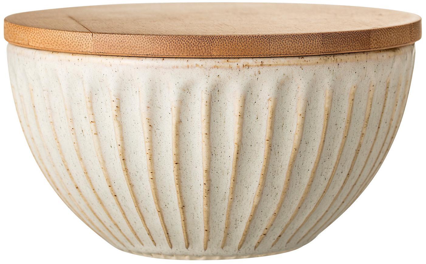 Ciotola con coperchio Lina, Ciotola: gres, Coperchio: legno di bambù, silicone, Beige chiaro, legno di bambù, Ø 17 x Alt. 10 cm