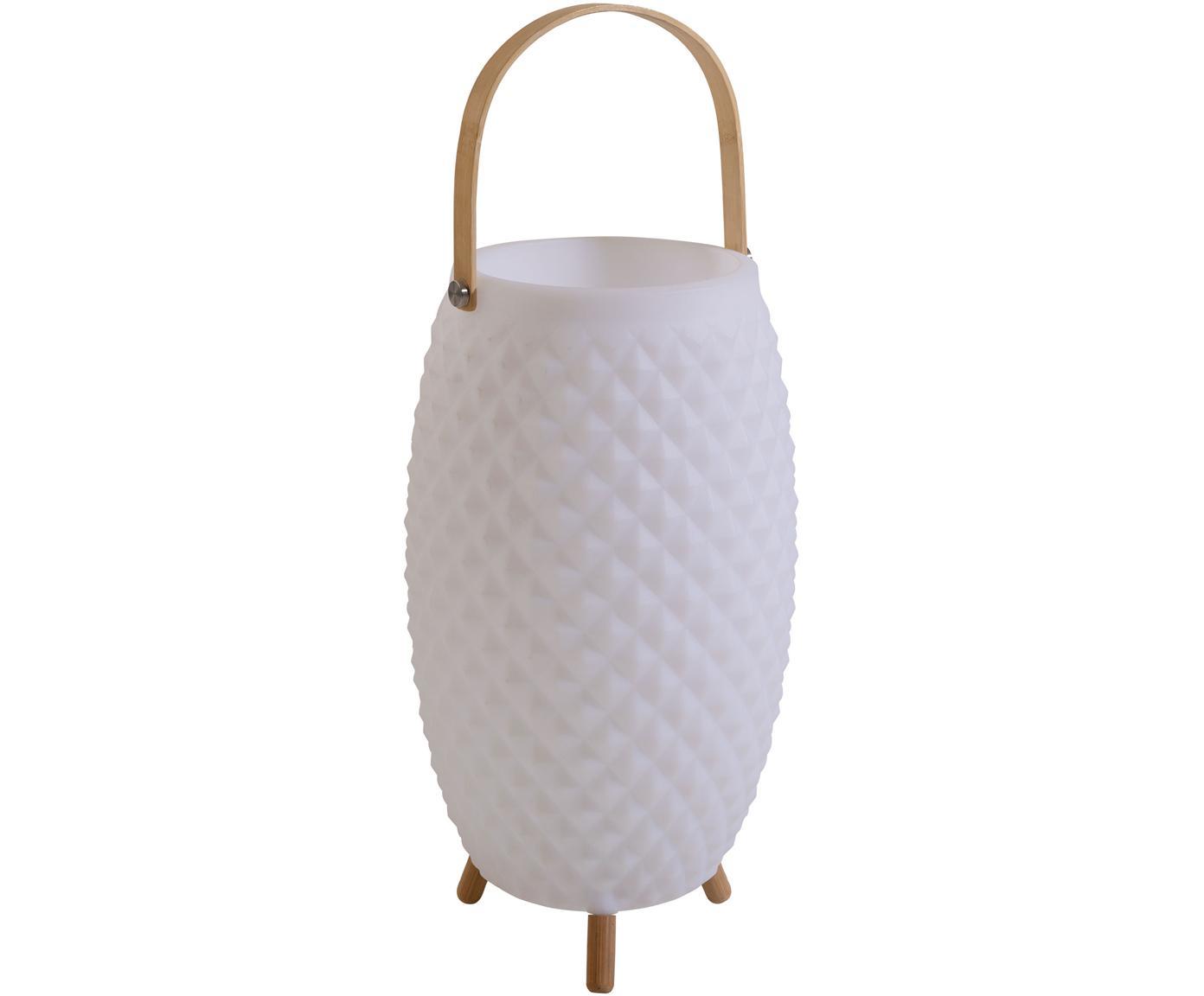 Lámpara móvil LED para exterior Coldown, con altavoz, Plástico, madera de caucho, Blanco, Ø 25 x Al 60 cm