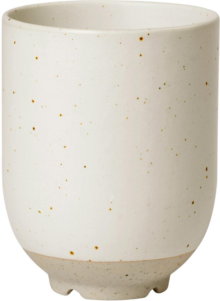Tazza senza manico in terracotta opaca Eli 4 pz, Gres, Beige, grigio chiaro, Ø 7 x Alt. 9 cm