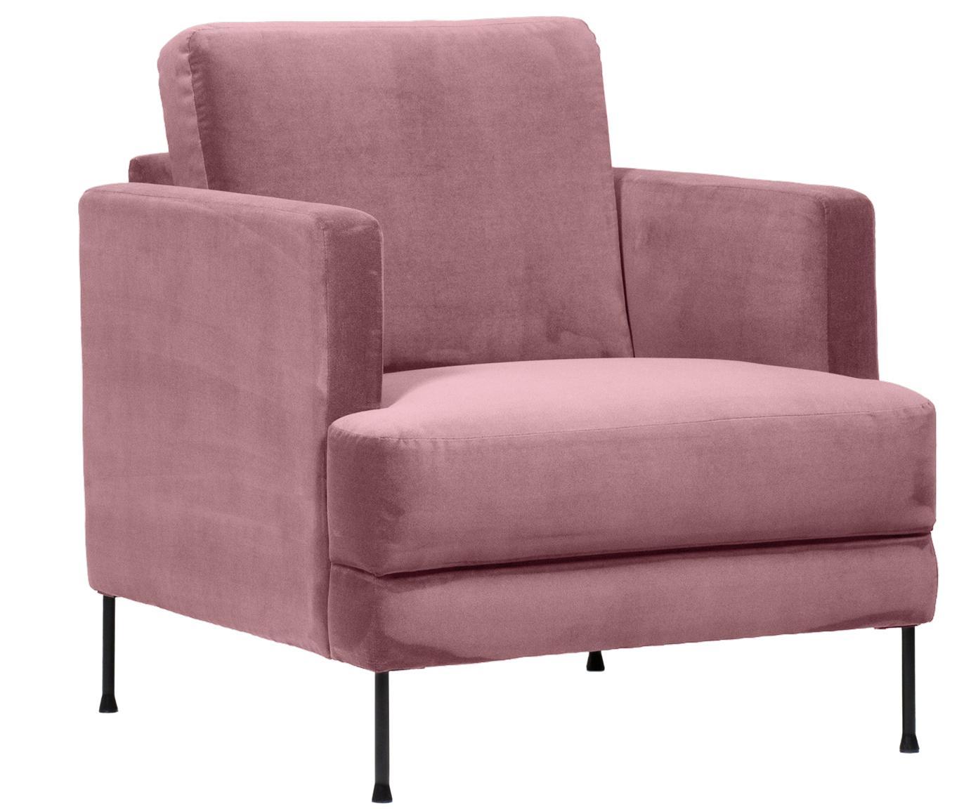Fotel z aksamitu Fluente, Tapicerka: aksamit (wysokiej jakości, Stelaż: lite drewno sosnowe, Nogi: metal lakierowany, Blady różowy aksamit, S 76 x G 83 cm