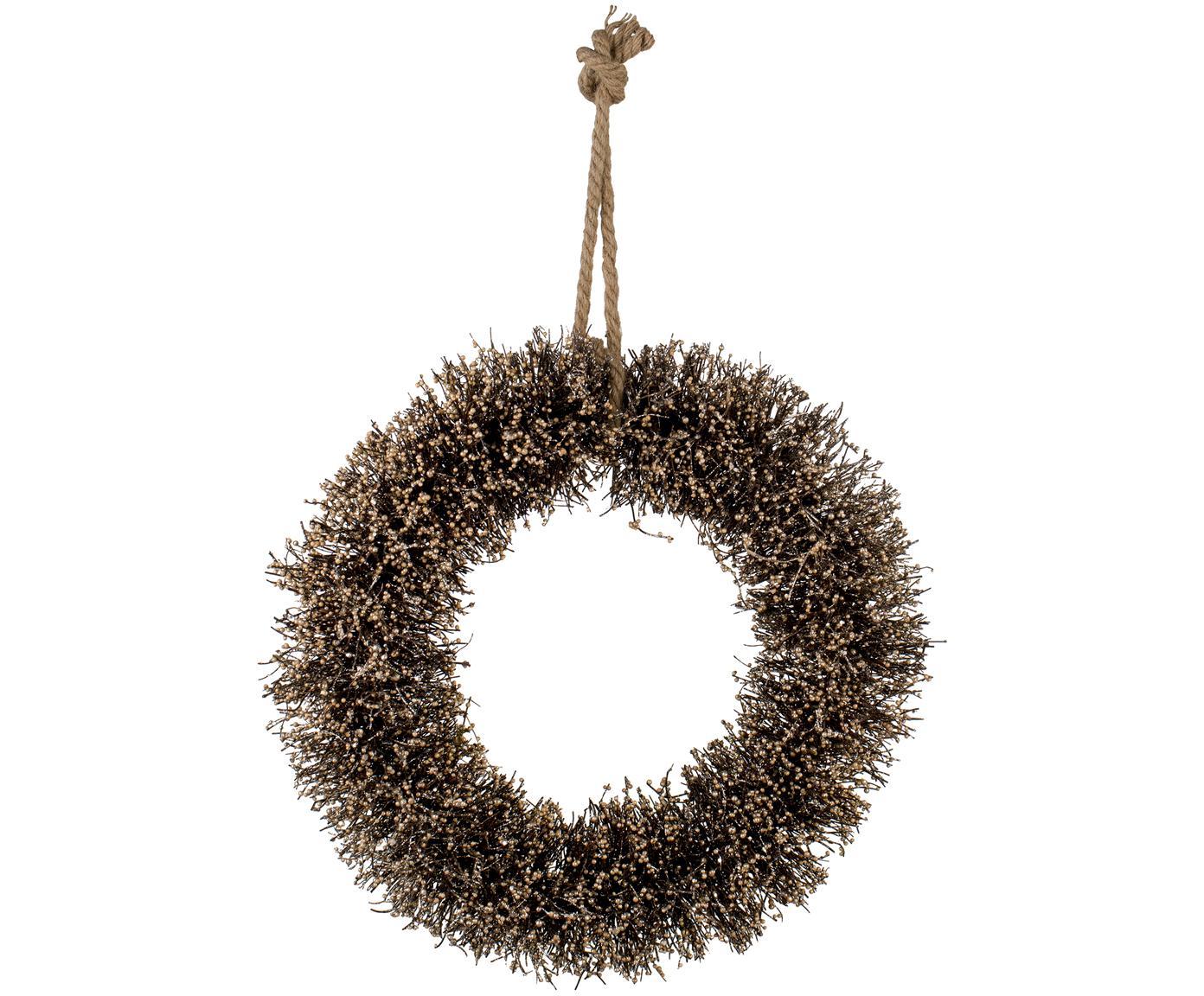 Corona navideña Alivia, Marrón, dorado, Ø 40 cm