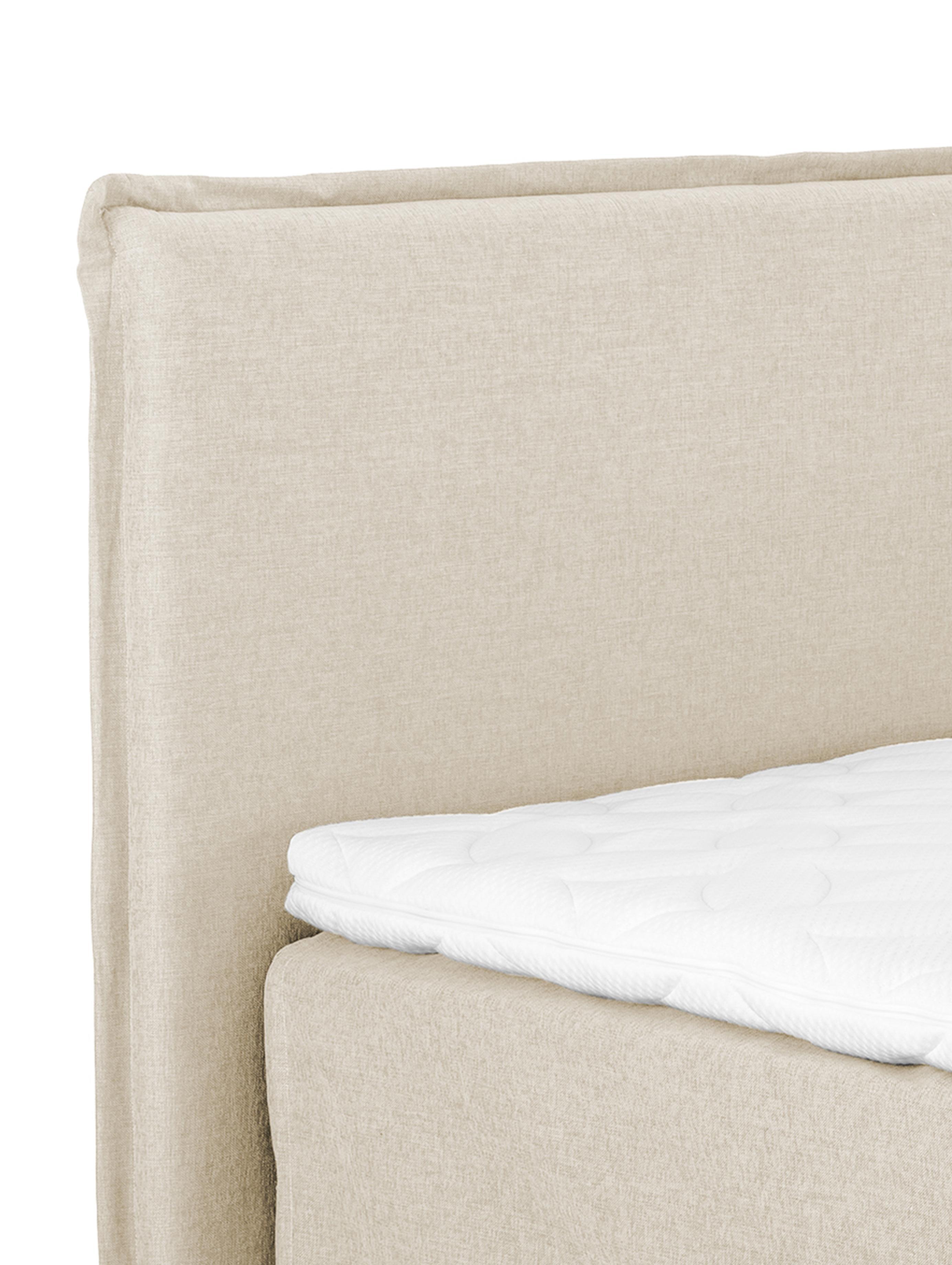 Premium Boxspringbett Violet, Matratze: 7-Zonen-Taschenfederkern , Füße: Massives Buchenholz, lack, Beige, 160 x 200 cm