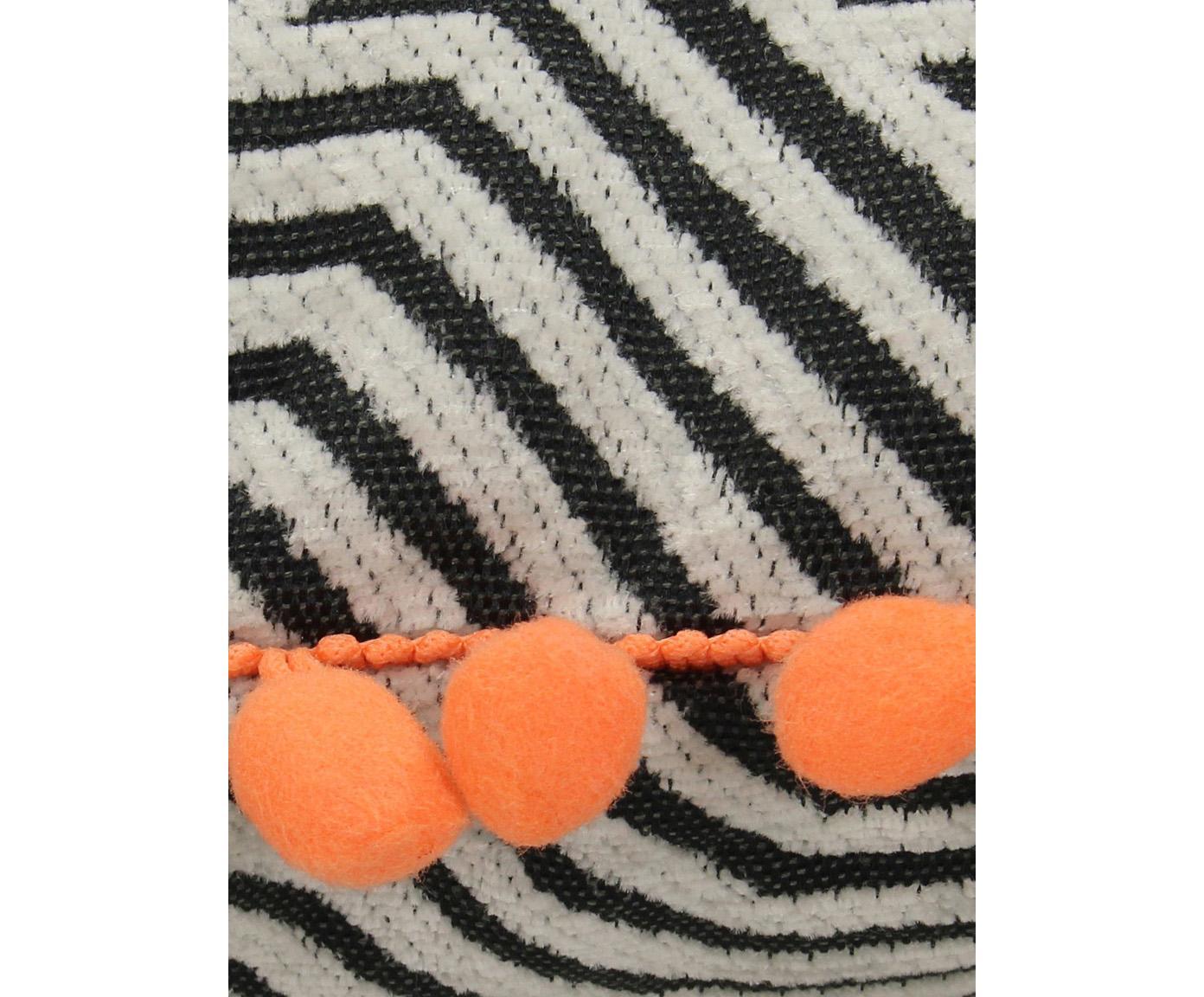 Poduszka z wypełnieniem z pomponami Waves, Czarny, złamana biel, pomarańczowy, S 45 x D 45 cm