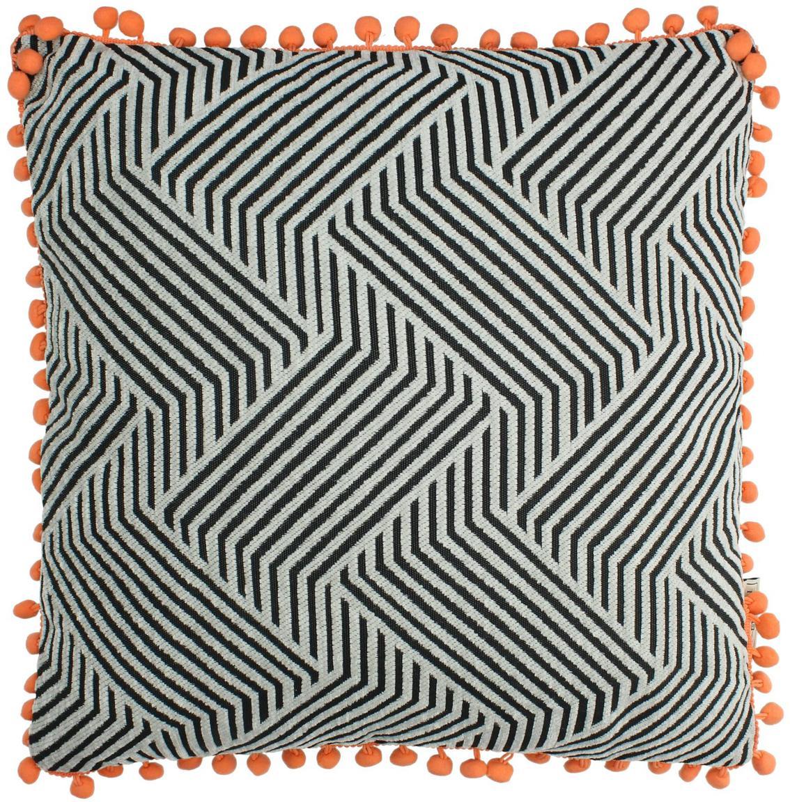 Kissen Waves mit orangefarbenden Bommeln, mit Inlett, Schwarz, gebrochenes Weiß, Orange, 45 x 45 cm