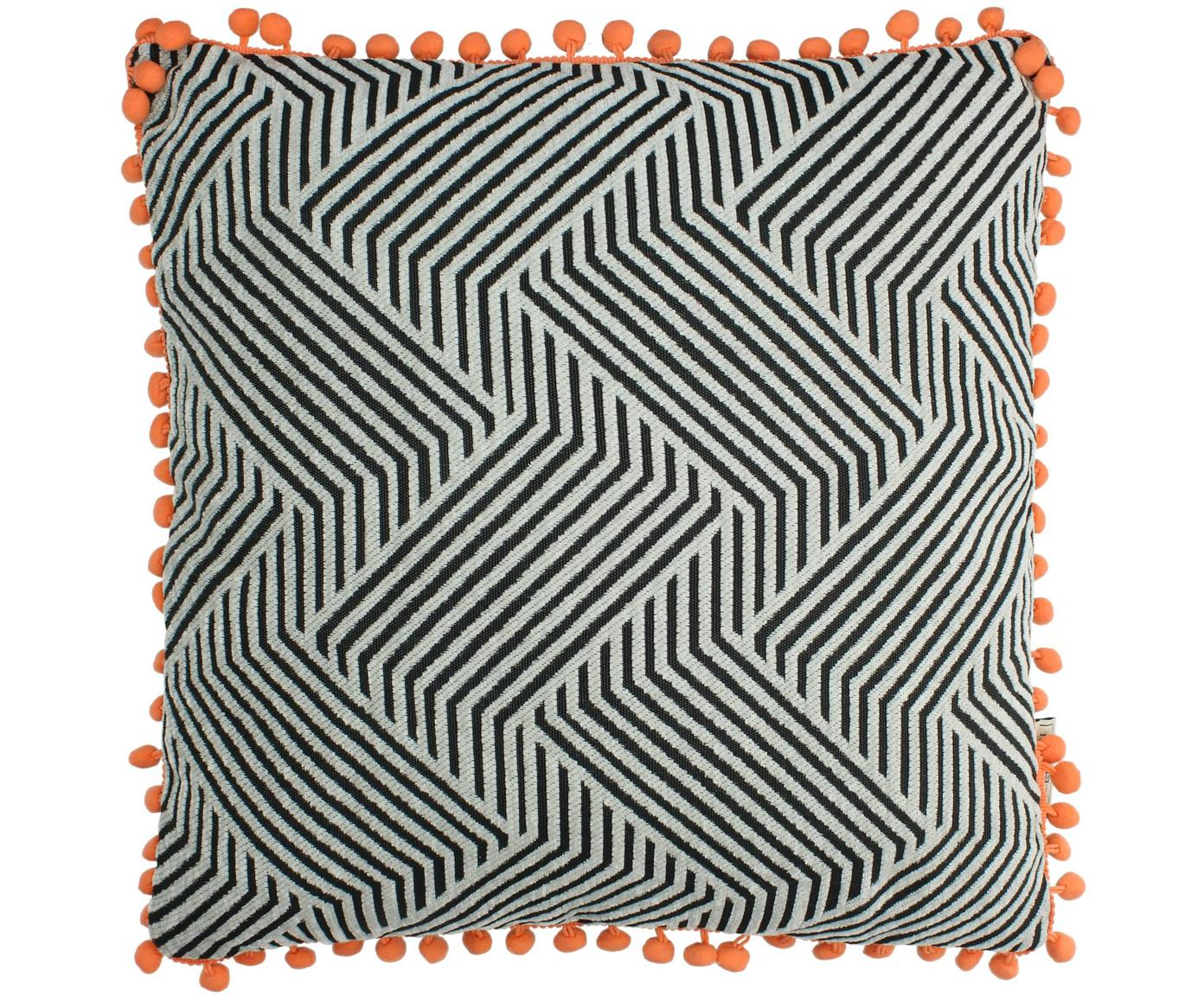 Cojín con pompones Waves, con relleno, Funda: poliéster, Negro, blanco crudo, naranja, An 45 x L 45 cm