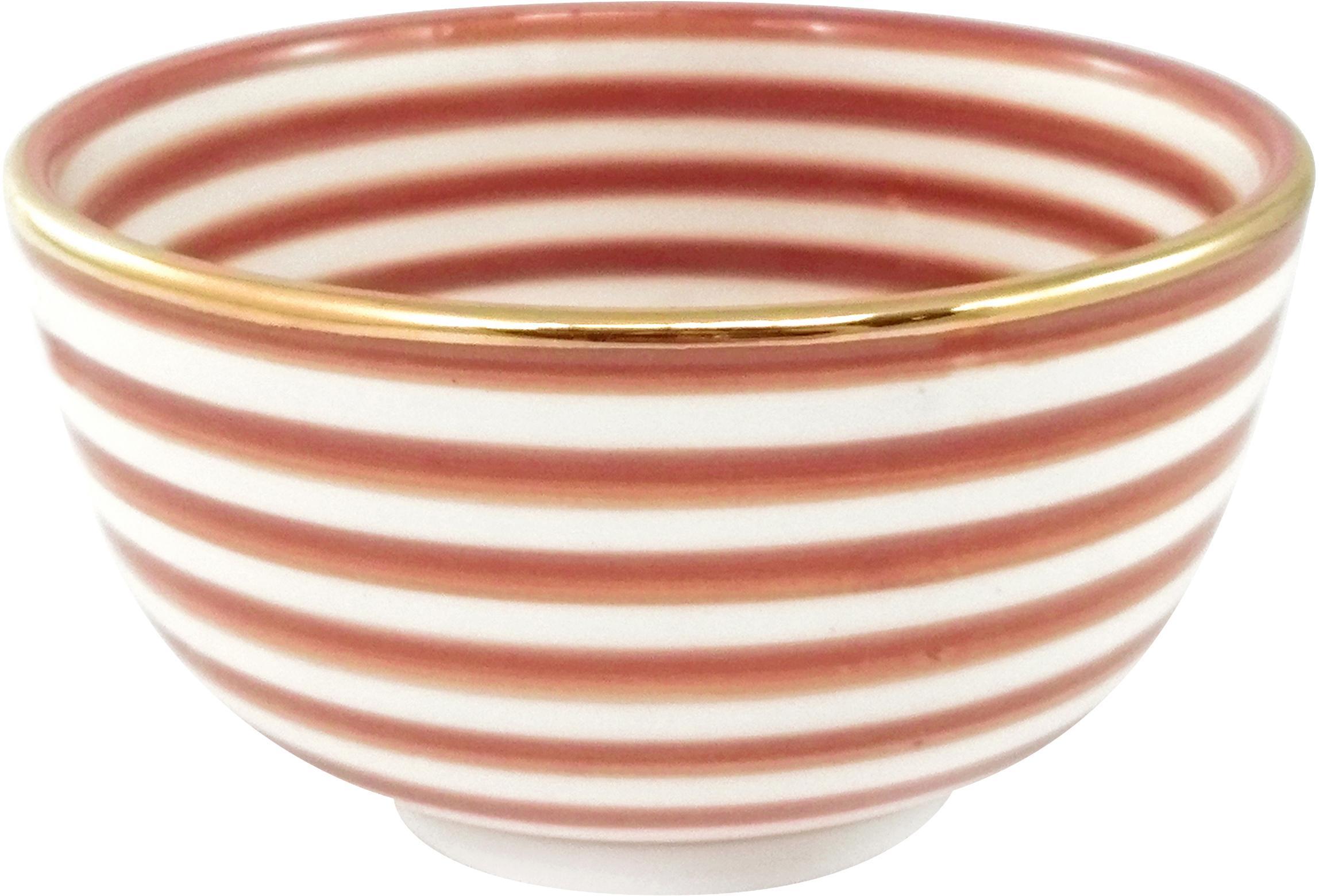 Handgemachtes Schälchen Moyen mit Goldrand, Keramik, Orange, Cremefarben, Gold, Ø 15 x H 9 cm