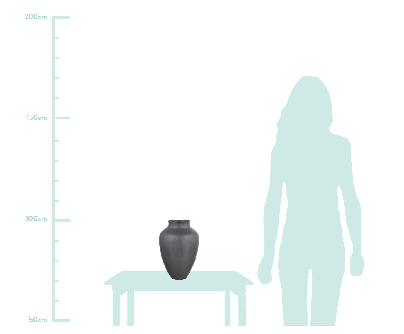 Vaso fatto a mano in ceramica Latona, Ceramica, Nero opaco, Ø 27 x Alt. 41 cm