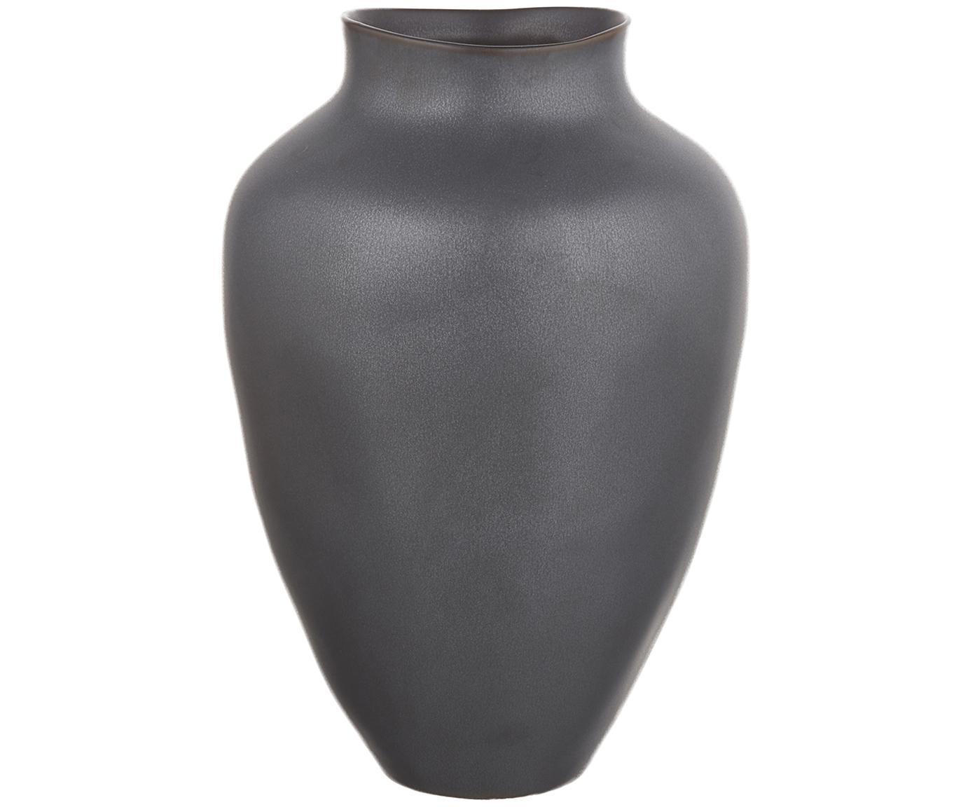 Jarrón artesanal grande de cerámica Latona, Cerámica, Negro mate, Ø 21 x Al 30 cm