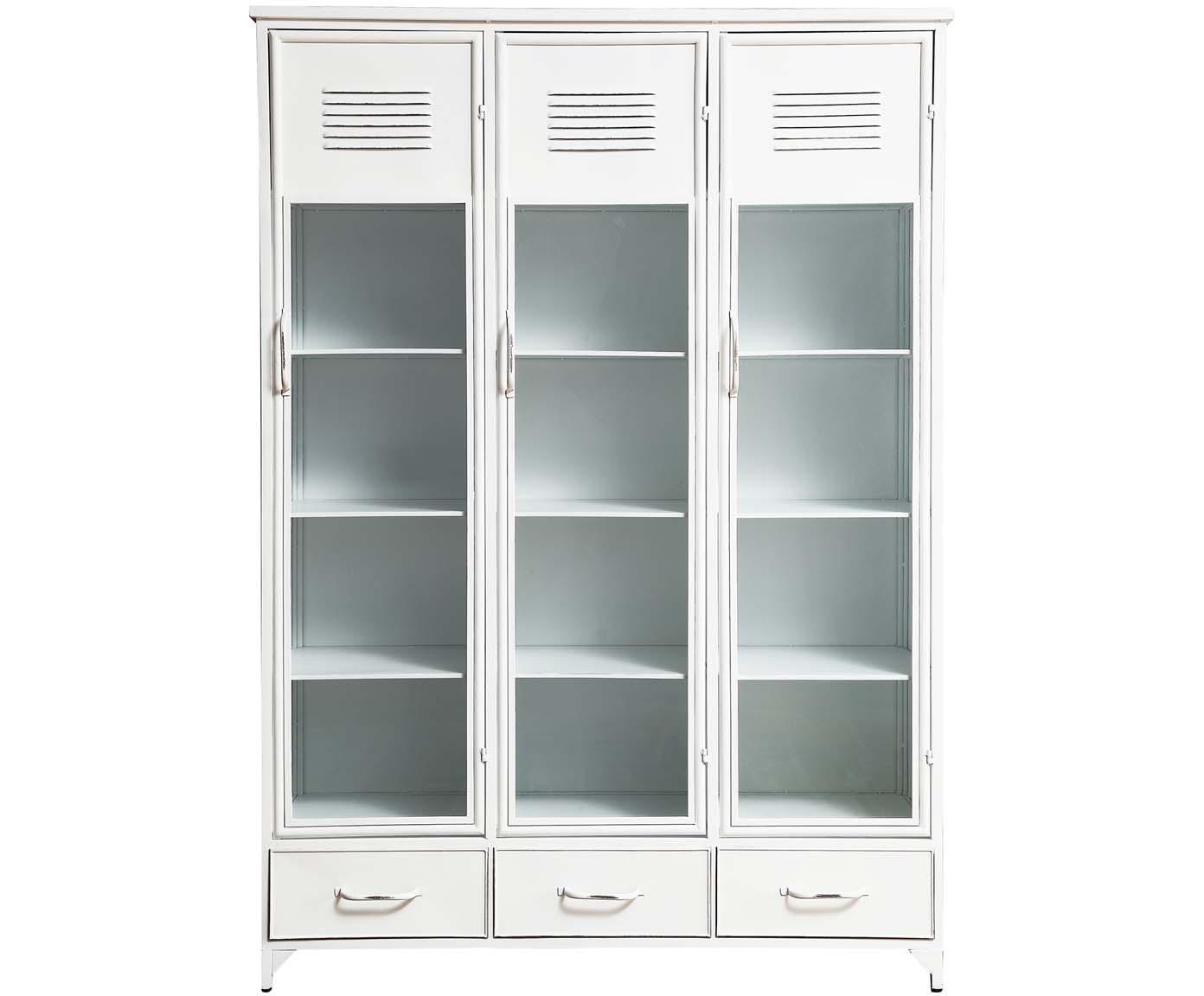 Kredens ze szklanymi drzwiczkami Looki, Biały, S 125 x W 180 cm