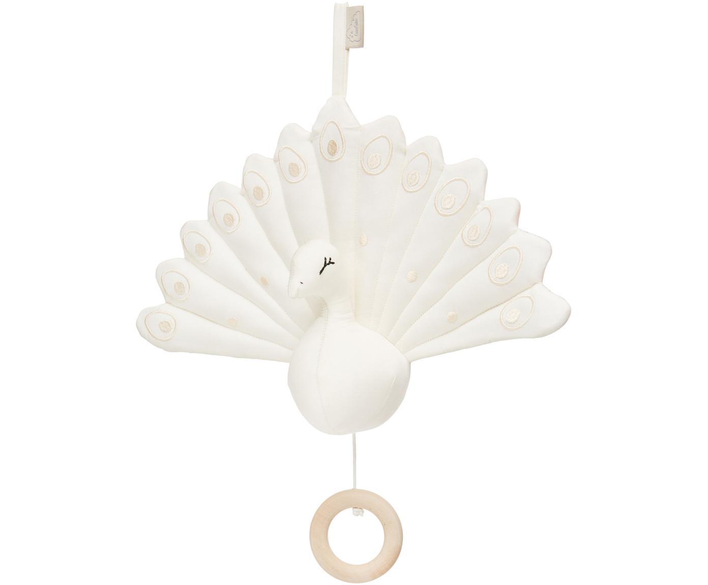 Muziekmobiel Peacock, Bekleding: organisch katoen, Crèmekleurig, 18 x 24 cm