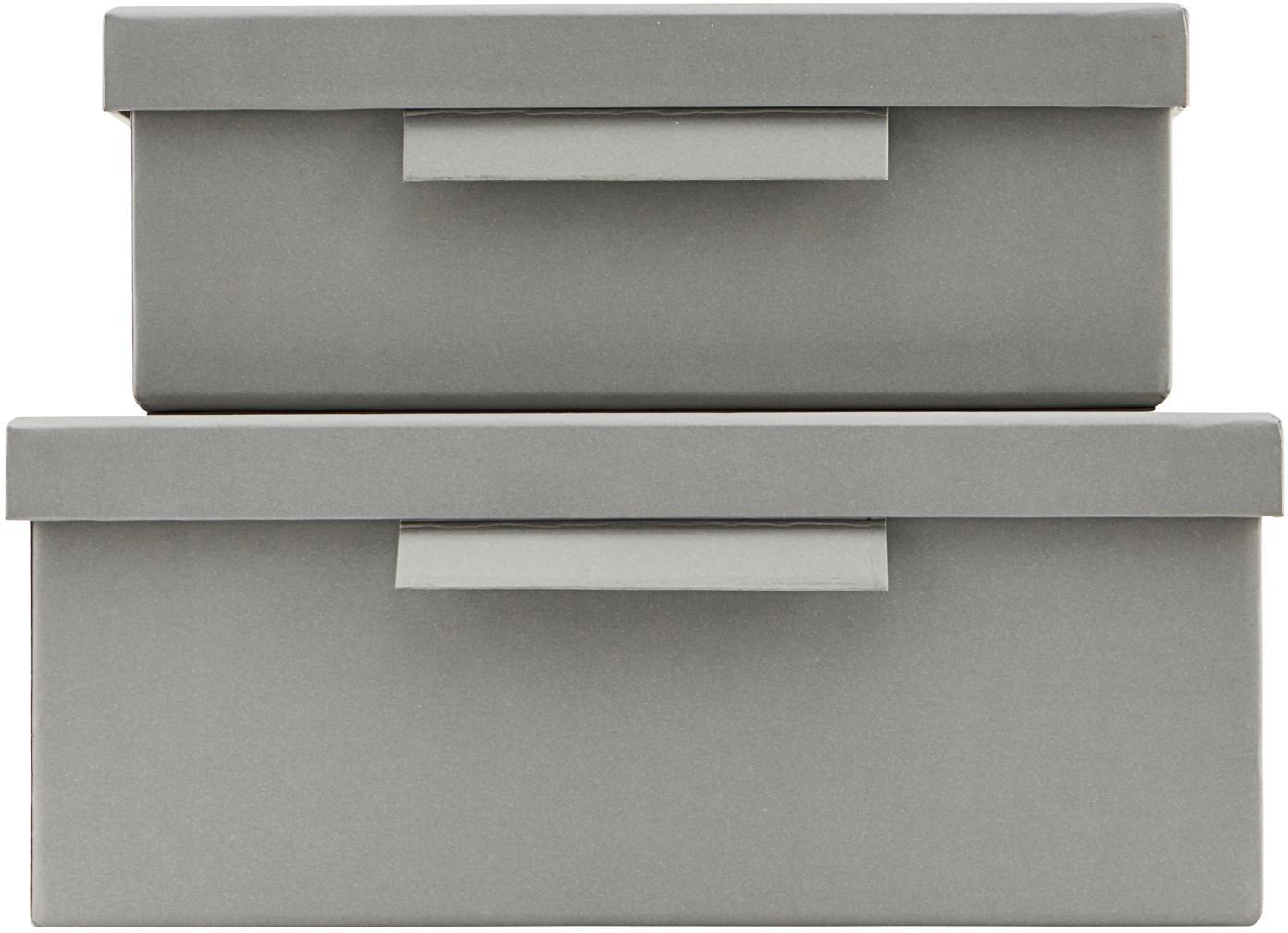 Aufbewahrungsboxen-Set File, 2-tlg., Papier, Grau, Sondergrößen