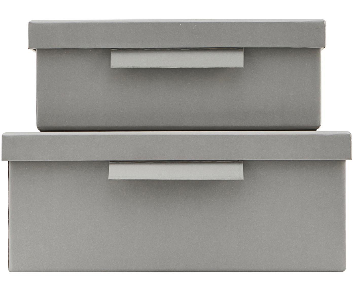 Set 2 scatole File, Carta, Grigio, Diverse dimensioni